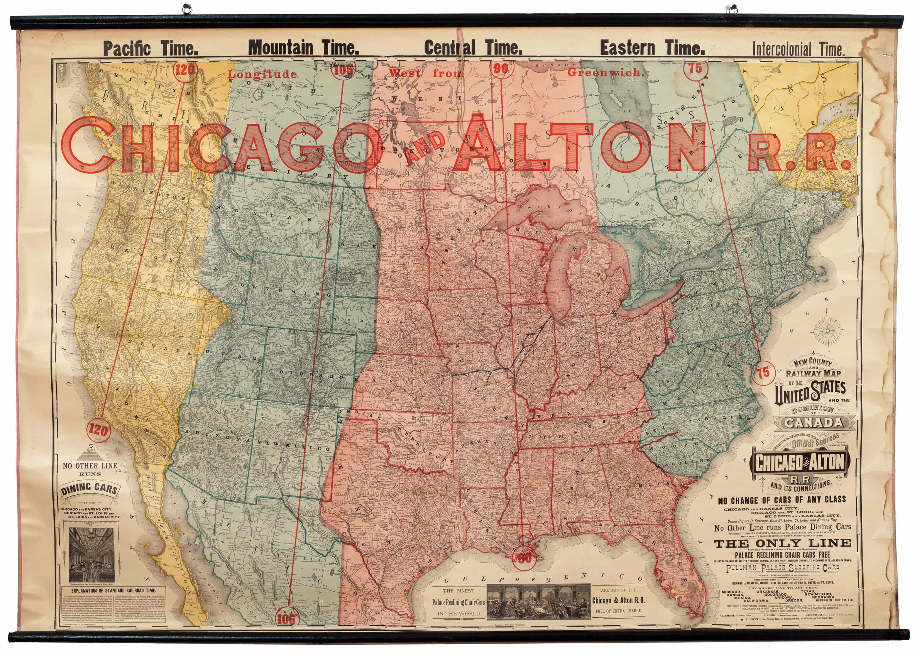 Map Of America Showing Chicago.Striking Railroad Map Featuring New American Time Zones Rare