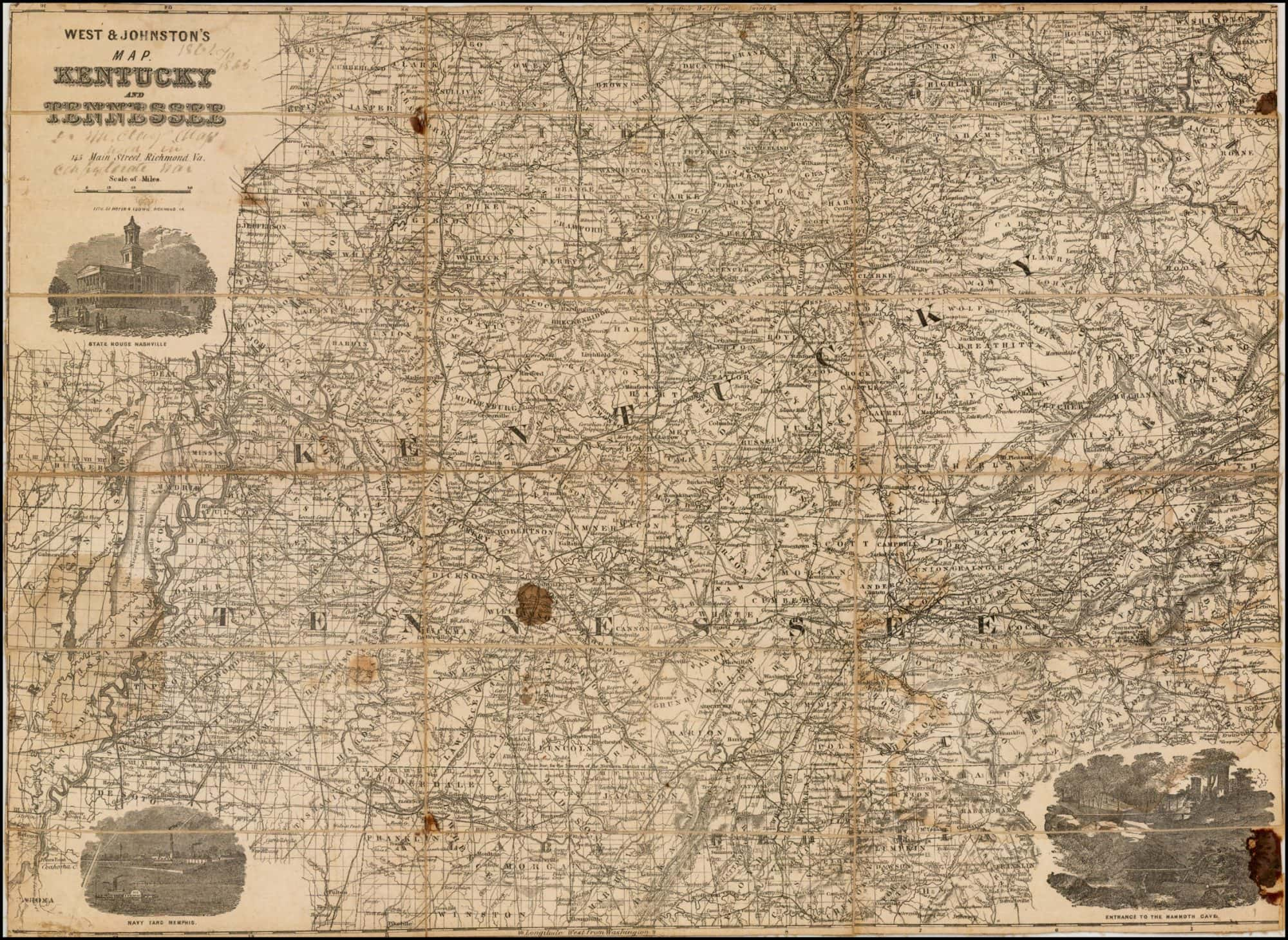 Rare Confederate map of Kentucky and Tennessee Rare Antique Maps