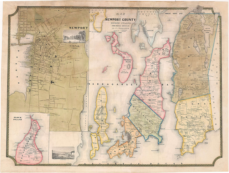HF Wallings Newport County Rhode Island Rare Antique Maps - Rhode island county map