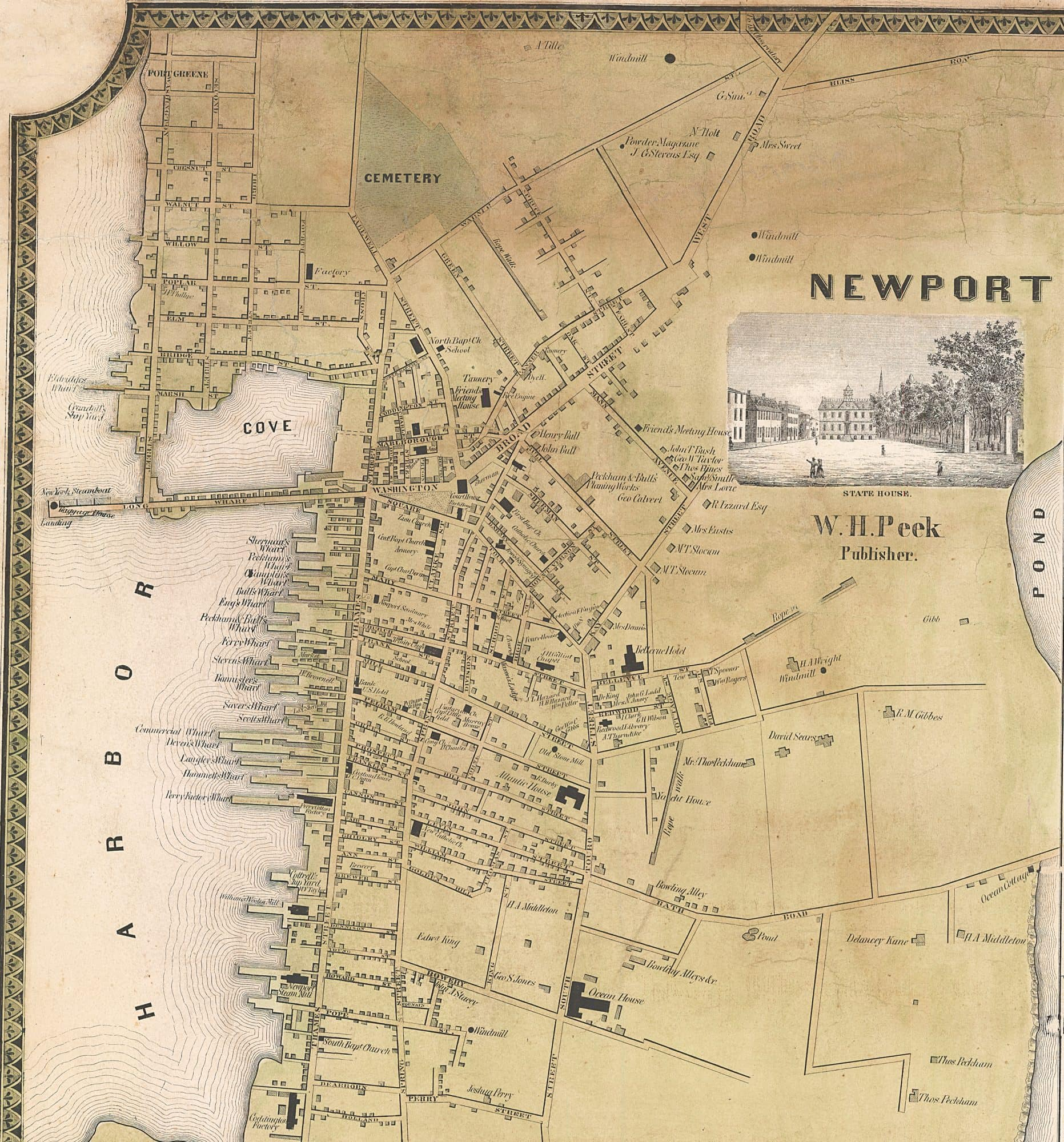 HF Wallings Newport County Rhode Island Rare Antique Maps