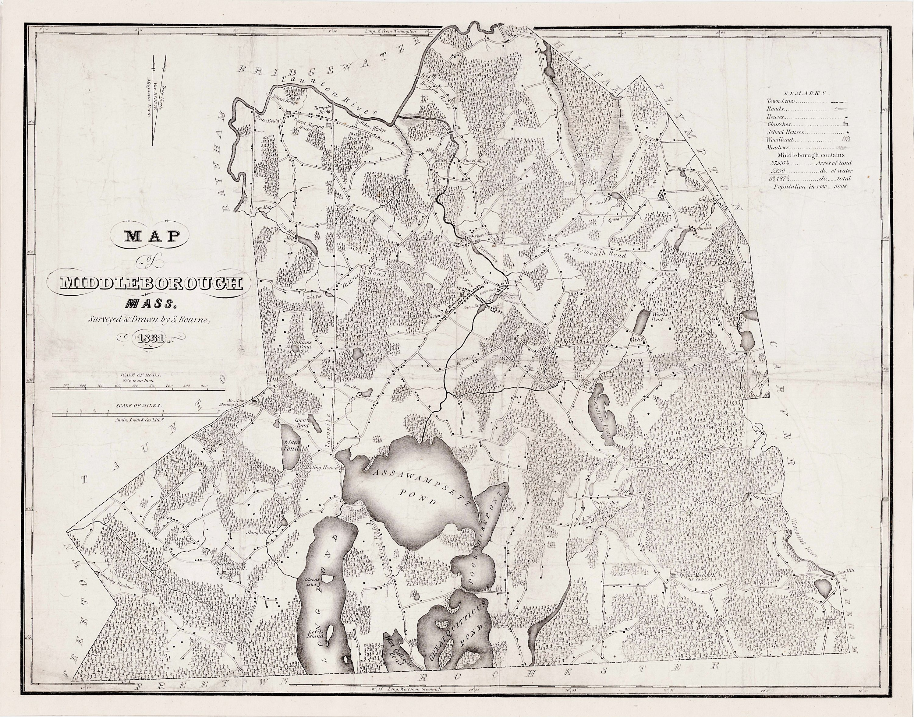 The first printed map of Middleborough, Machusetts - Rare ... on