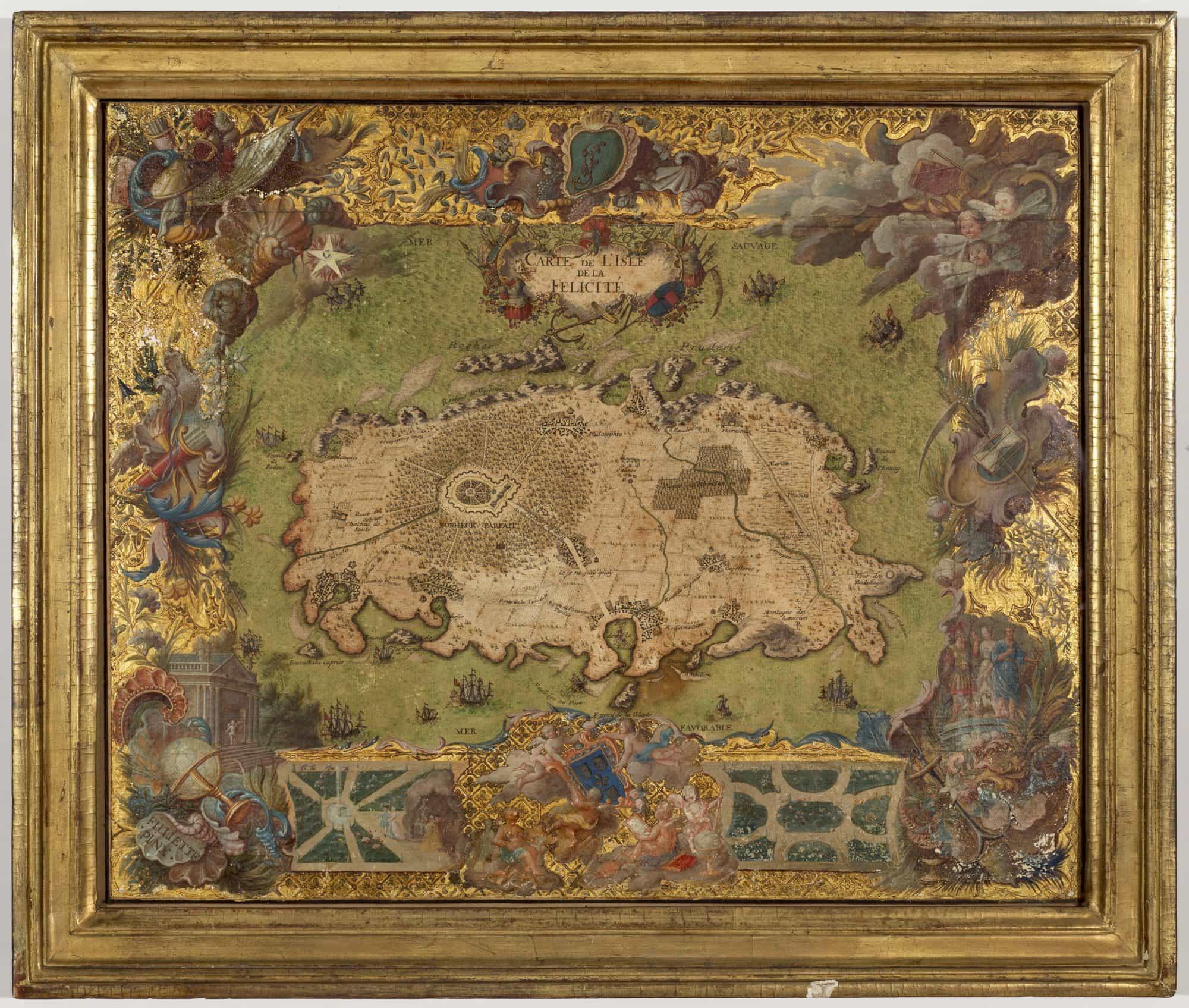 """Jean-Martin Weis: """"Carte de l'Isle de la Félicité"""" (1743)."""