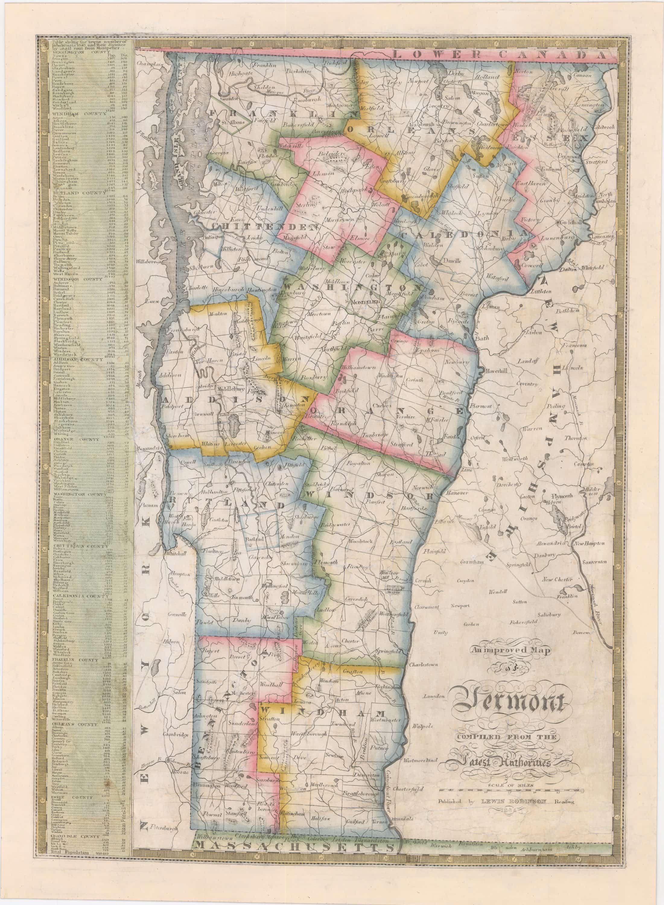 Lewis Robinson Map Of Vermont Rare Antique Maps - Map of vermont