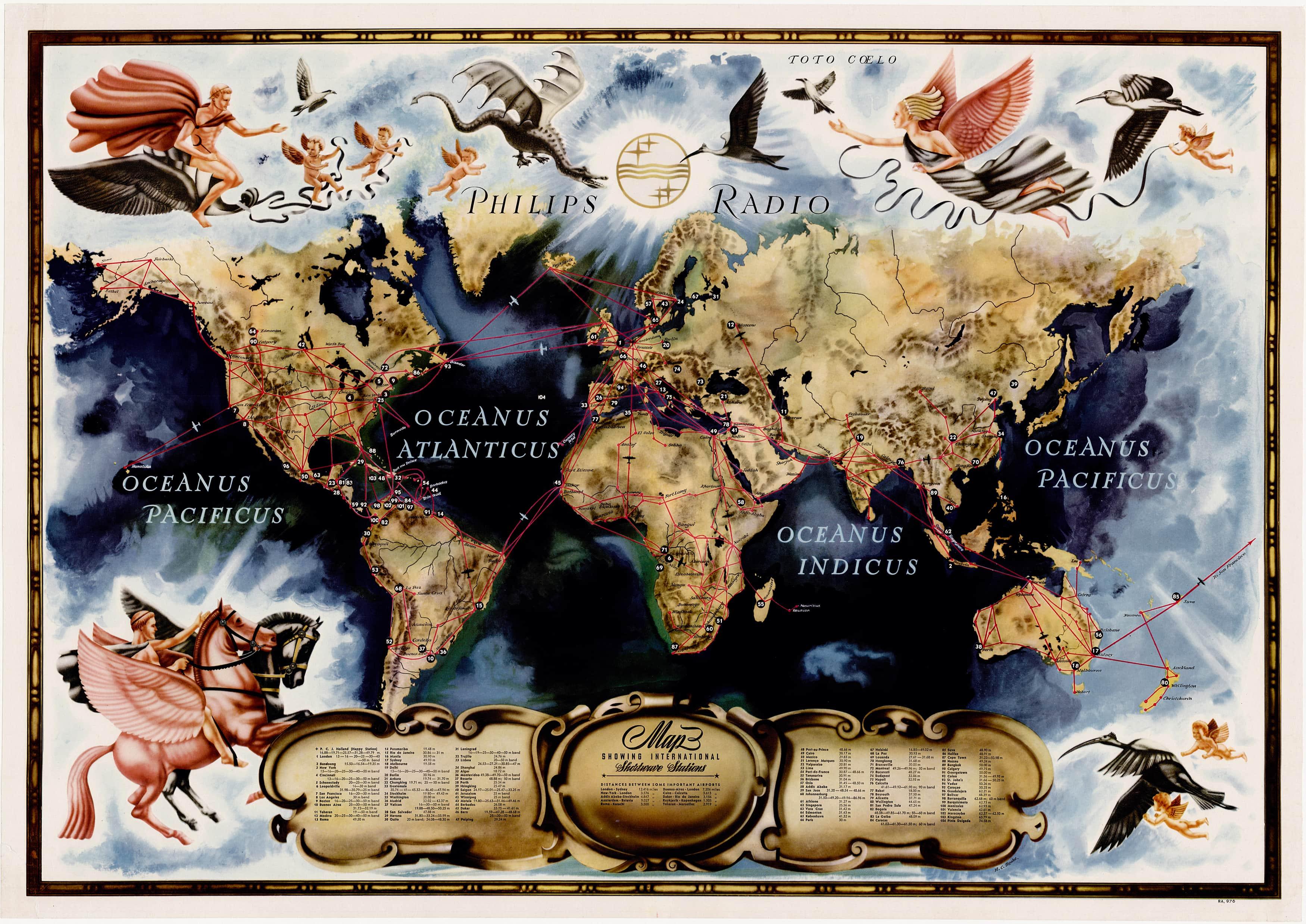 Spectacular philips radio world map rare antique maps gumiabroncs Images