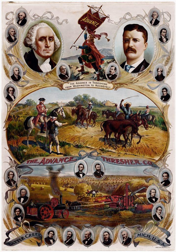 Chromolithographic advertising with George Washington and Teddy Roosevelt