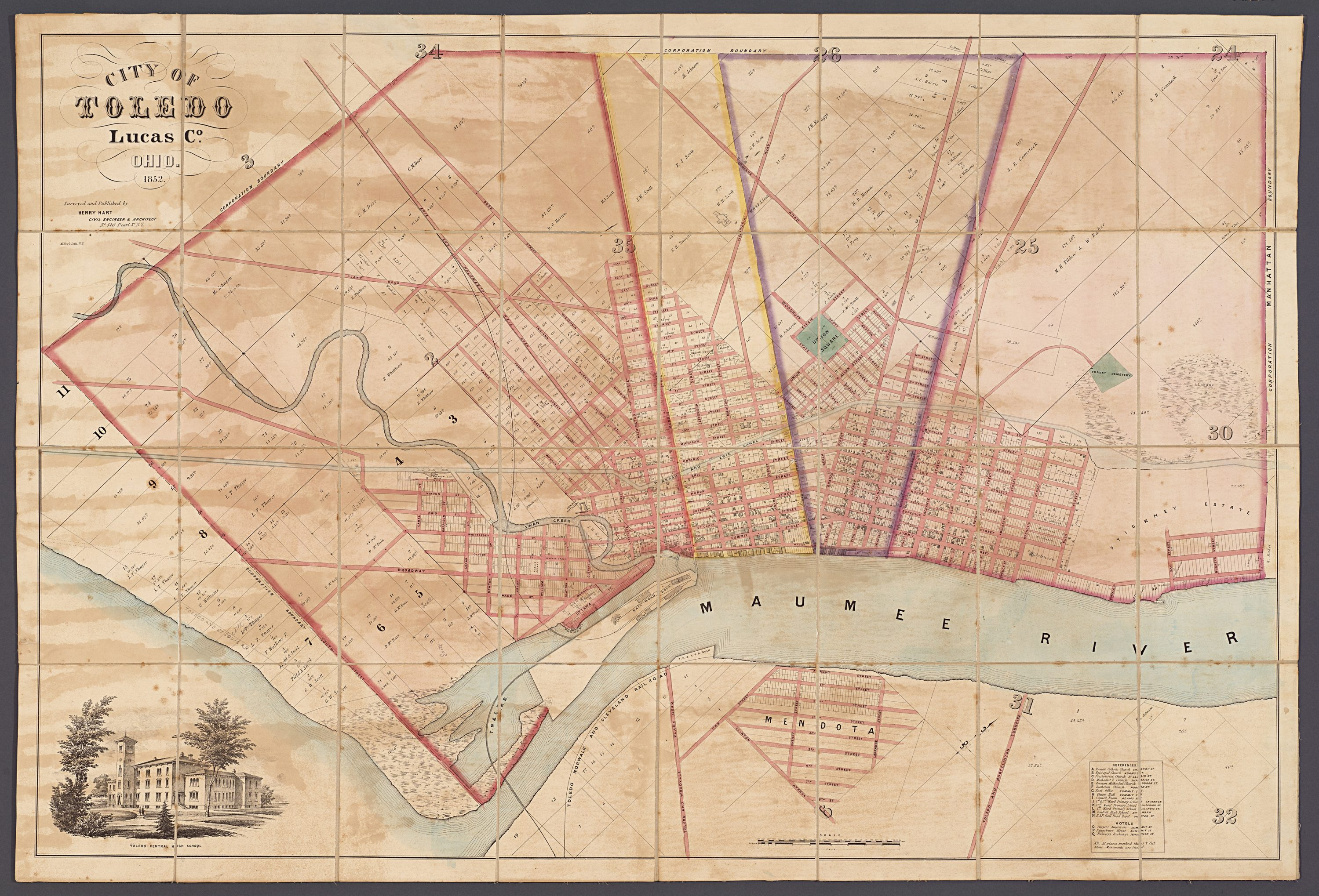 Map Of Toledo Ohio A rare case map of Toledo Ohio from 1852   Rare & Antique Maps