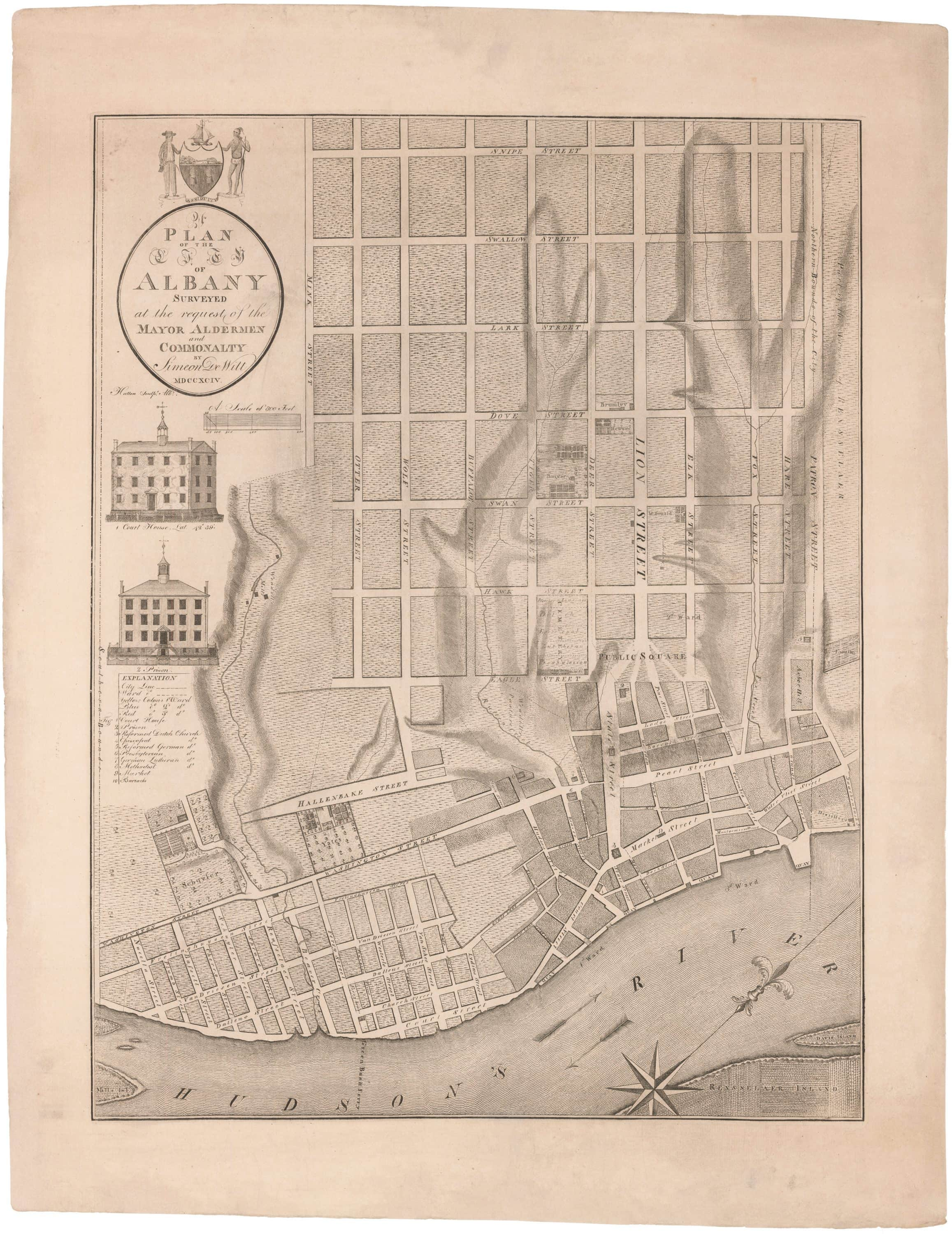 The first printed map of Albany New York - Rare & Antique Maps