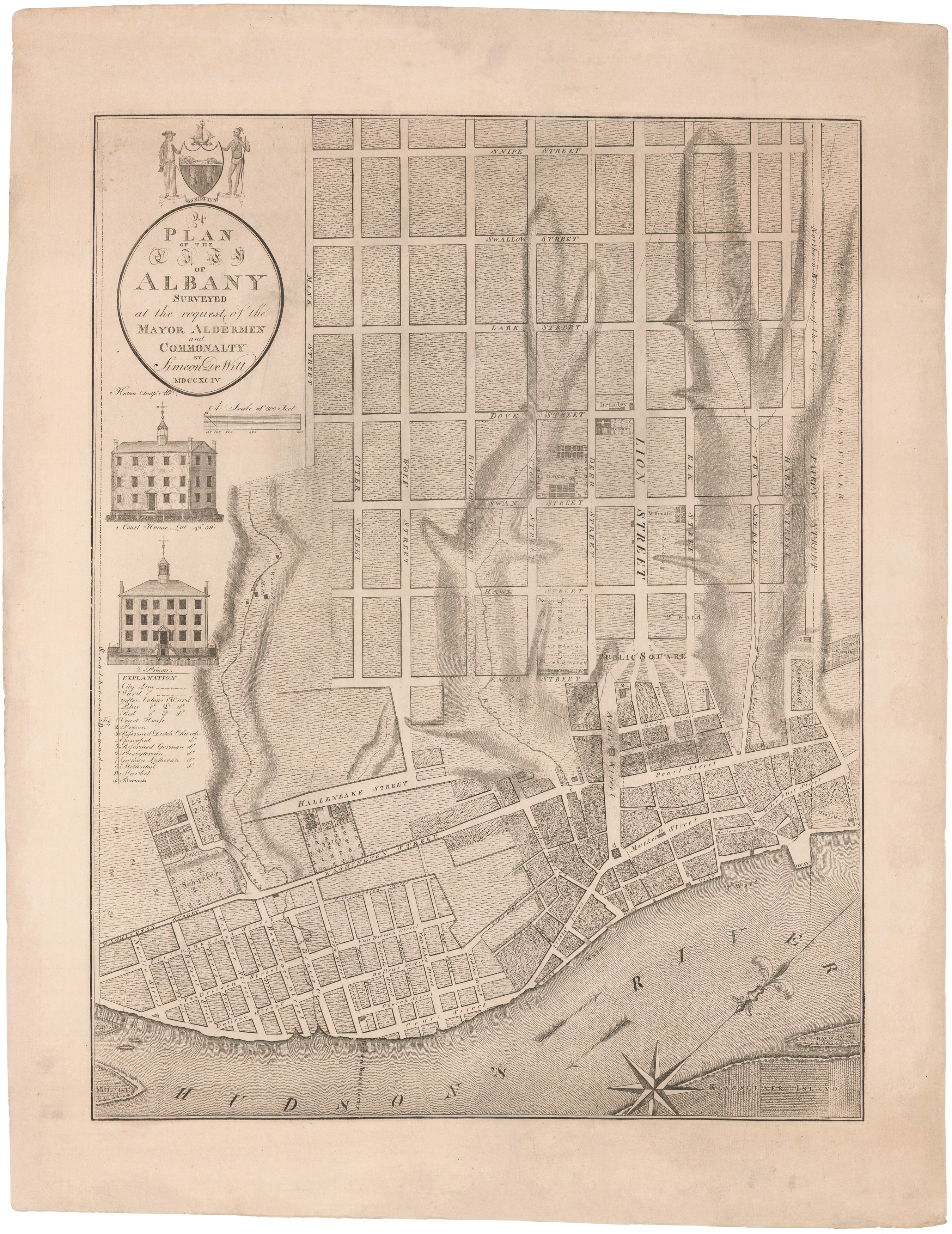 The First Printed Map Of Albany New York