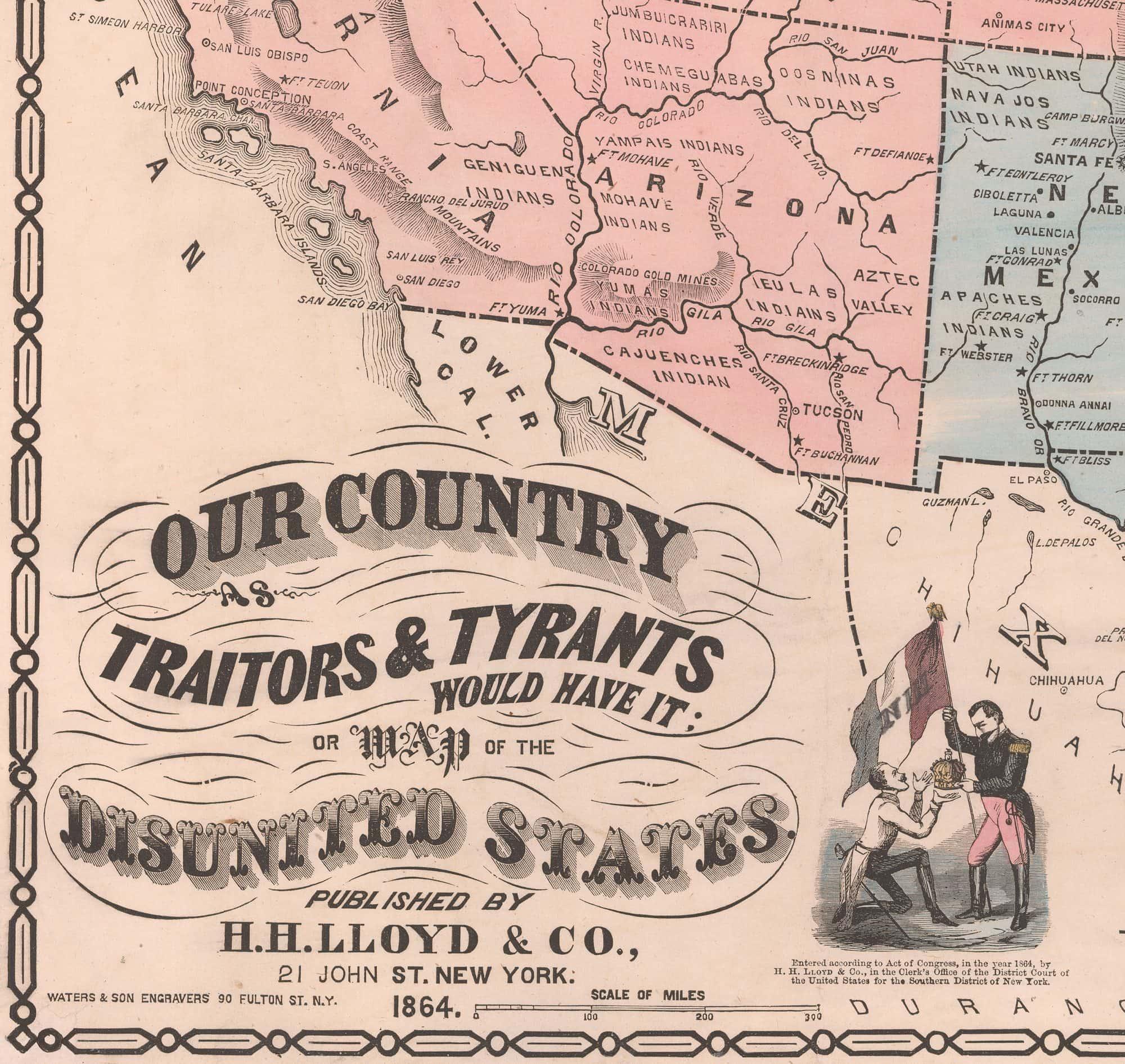 Unrecorded Antisecession Propaganda Map Rare  Antique Maps - Us map dates of secession