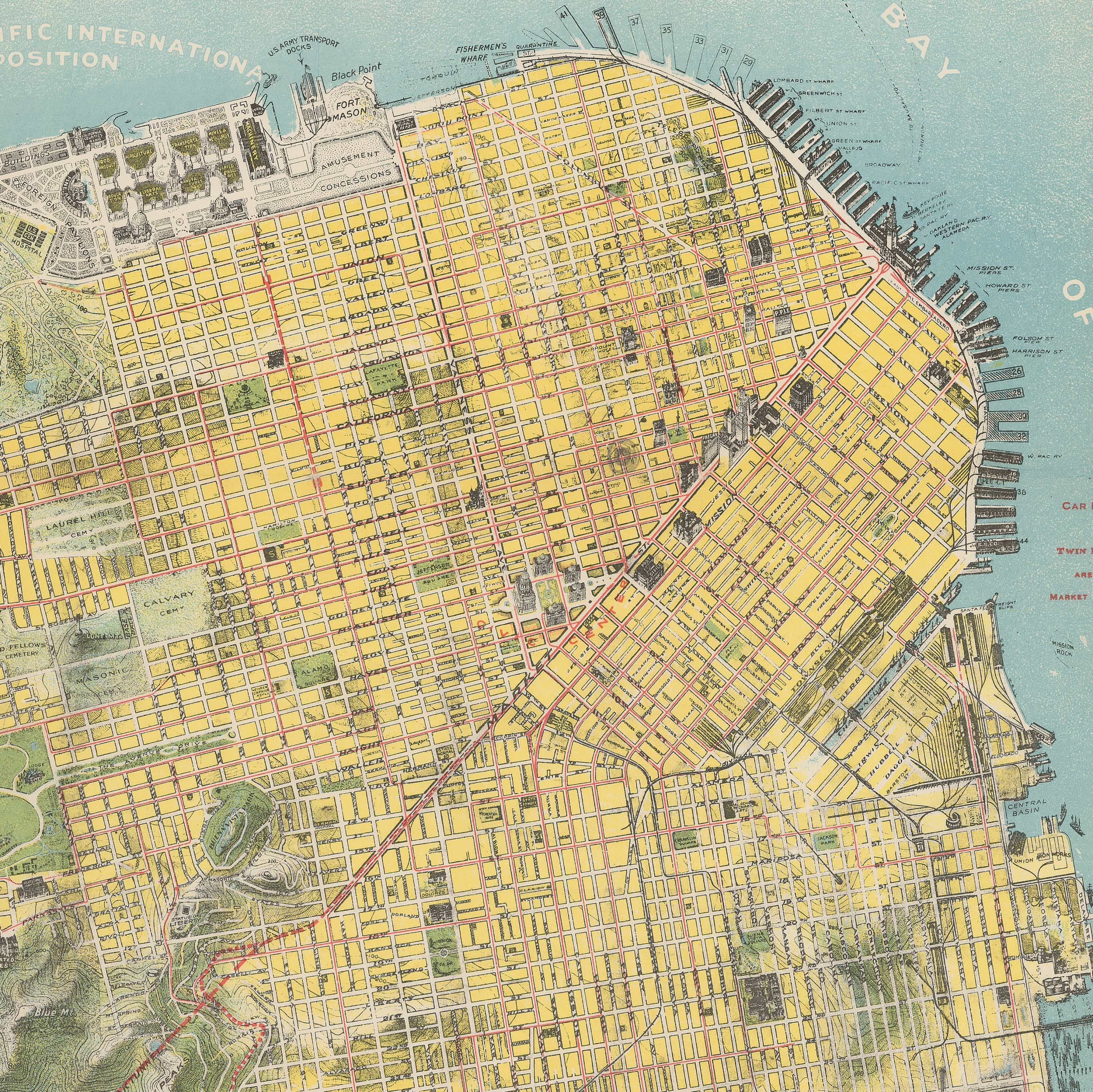 Spectacular Chevalier map of San Francisco for the 1915 Exposition