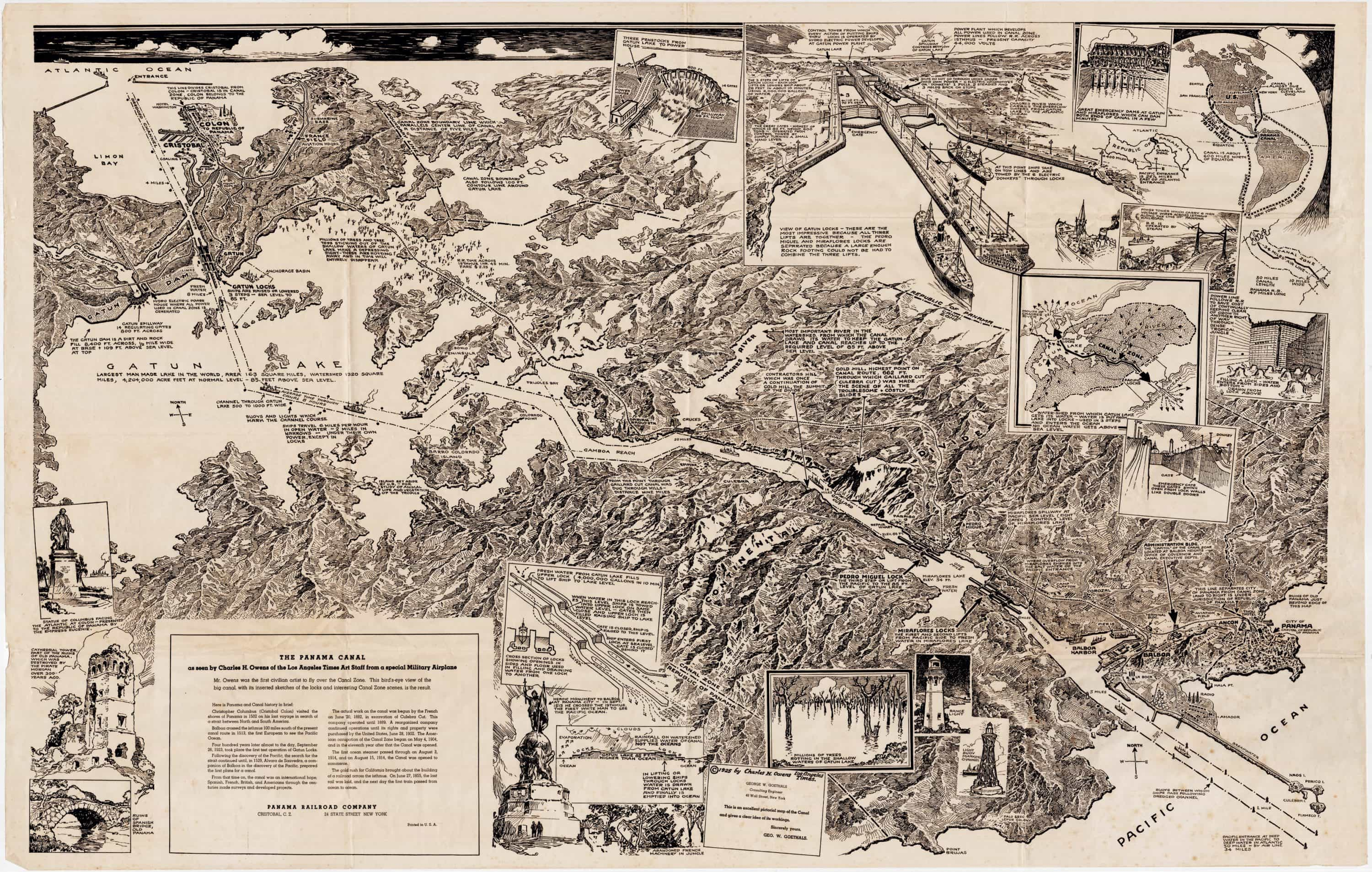 The Panama Canal, as seen from an airplane in 1925 - Rare & Antique Maps