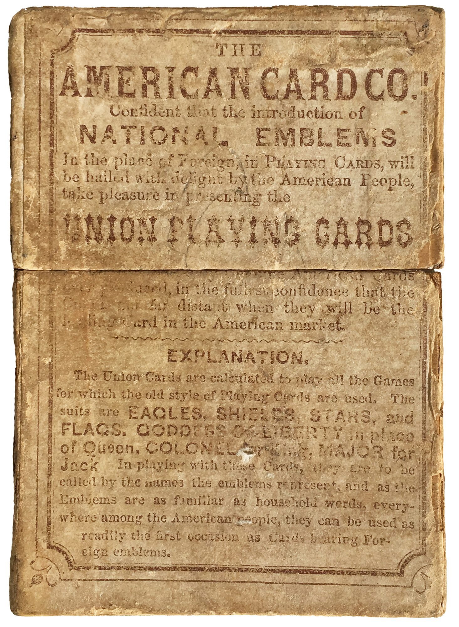 union playing cards from the civil war era rare antique maps