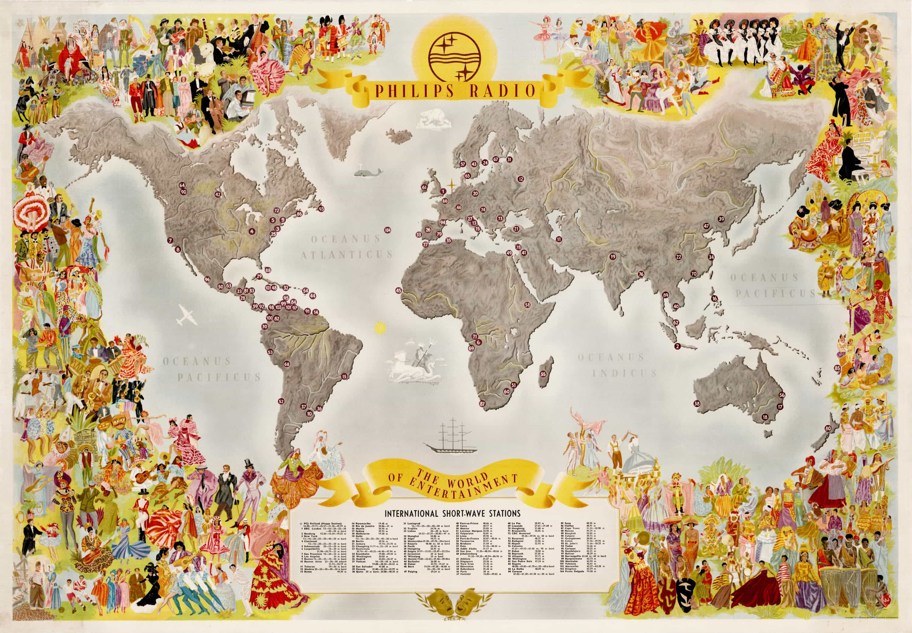 Spectacular philips radio map of the world of entertainment rare spectacular philips radio map of the world of entertainment gumiabroncs Choice Image
