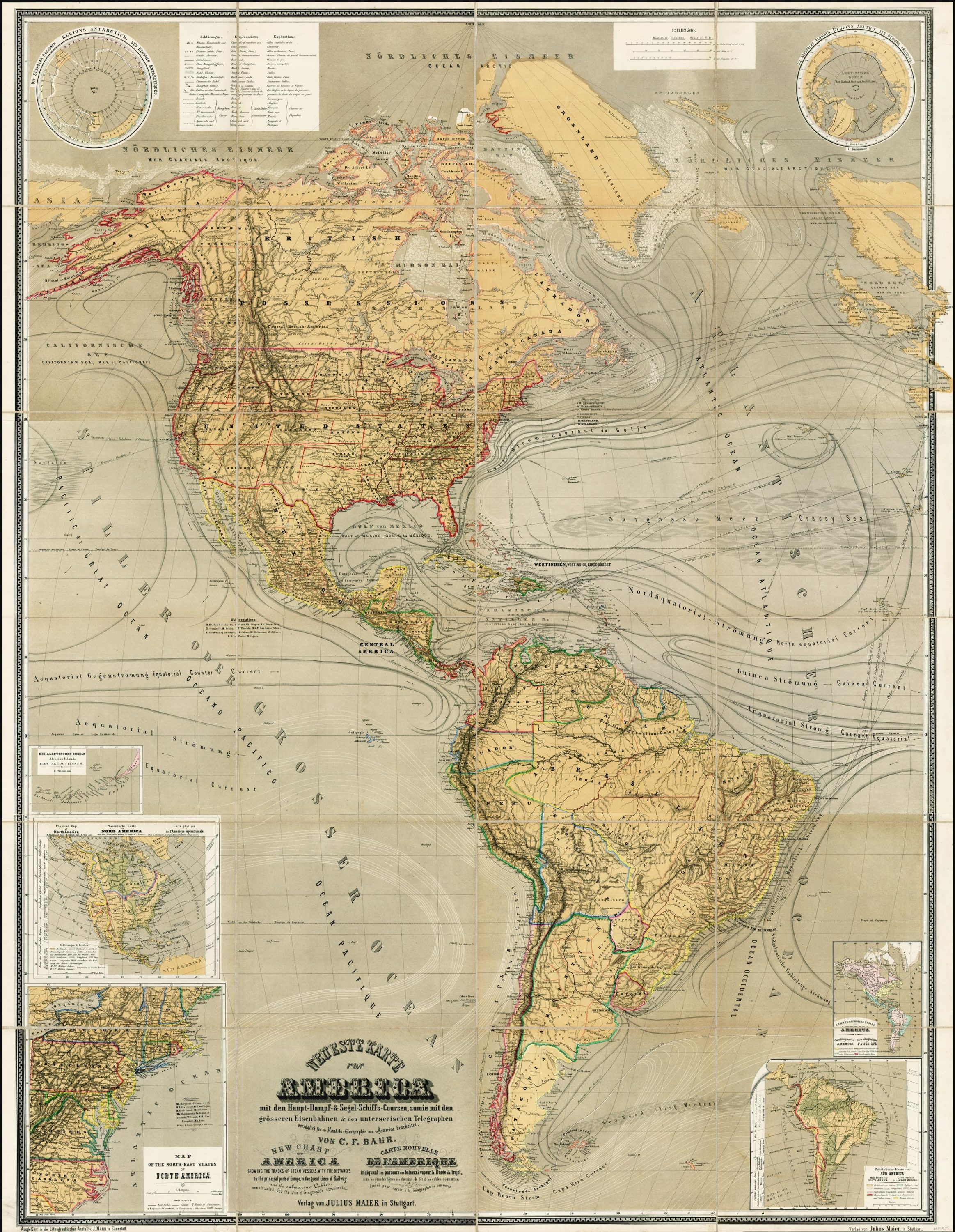 Map Of South America 2017.Magnificent Thematic Map Of North And South America Rare Antique