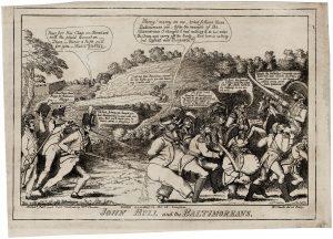 William Charles (artist, engraver and publisher), JOHN BULL and the BALTIMOREANS. Philadelphia, [1814].