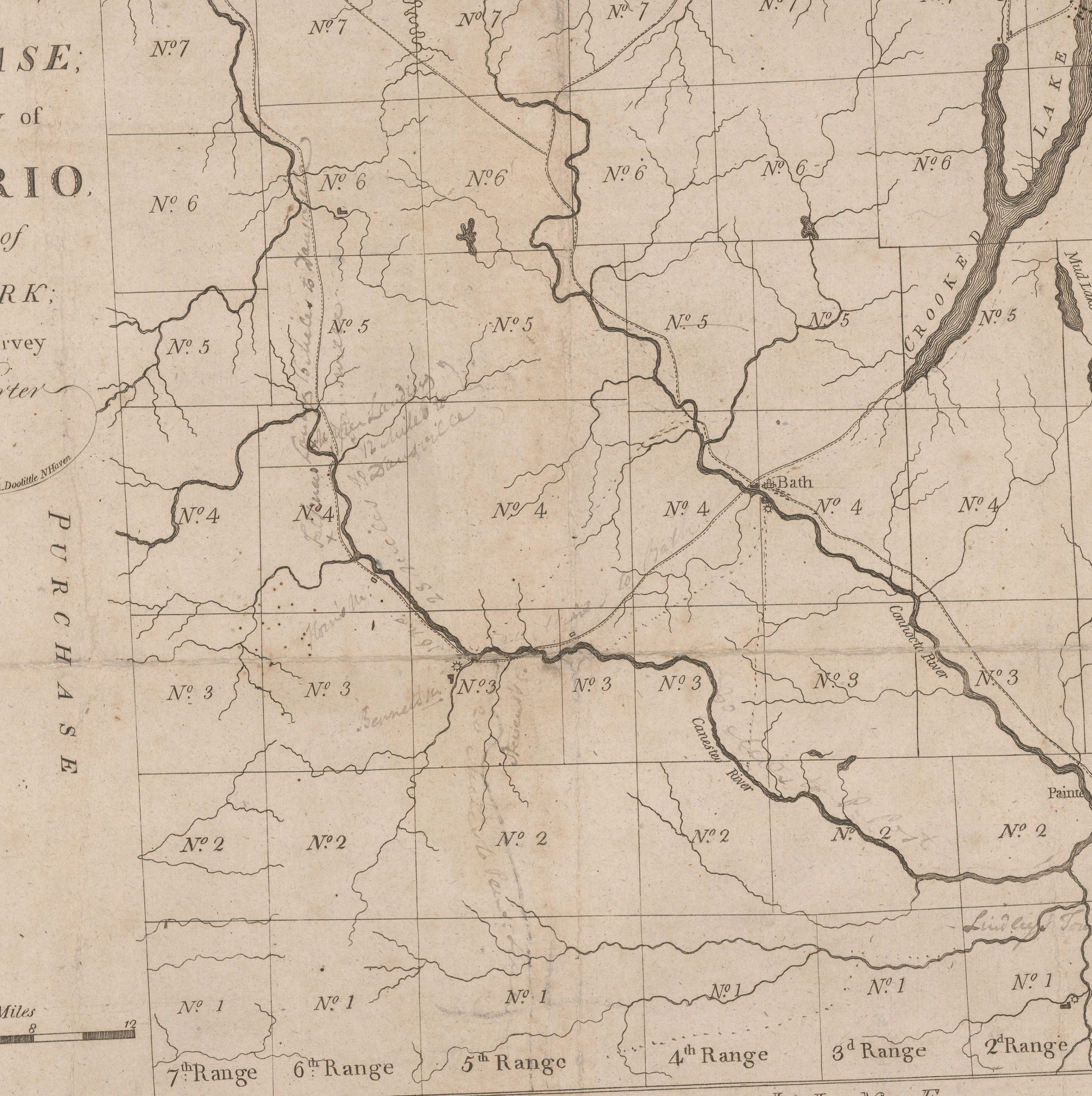 Rare 18thcentury map of the Phelps and Gorham Purchase Rare