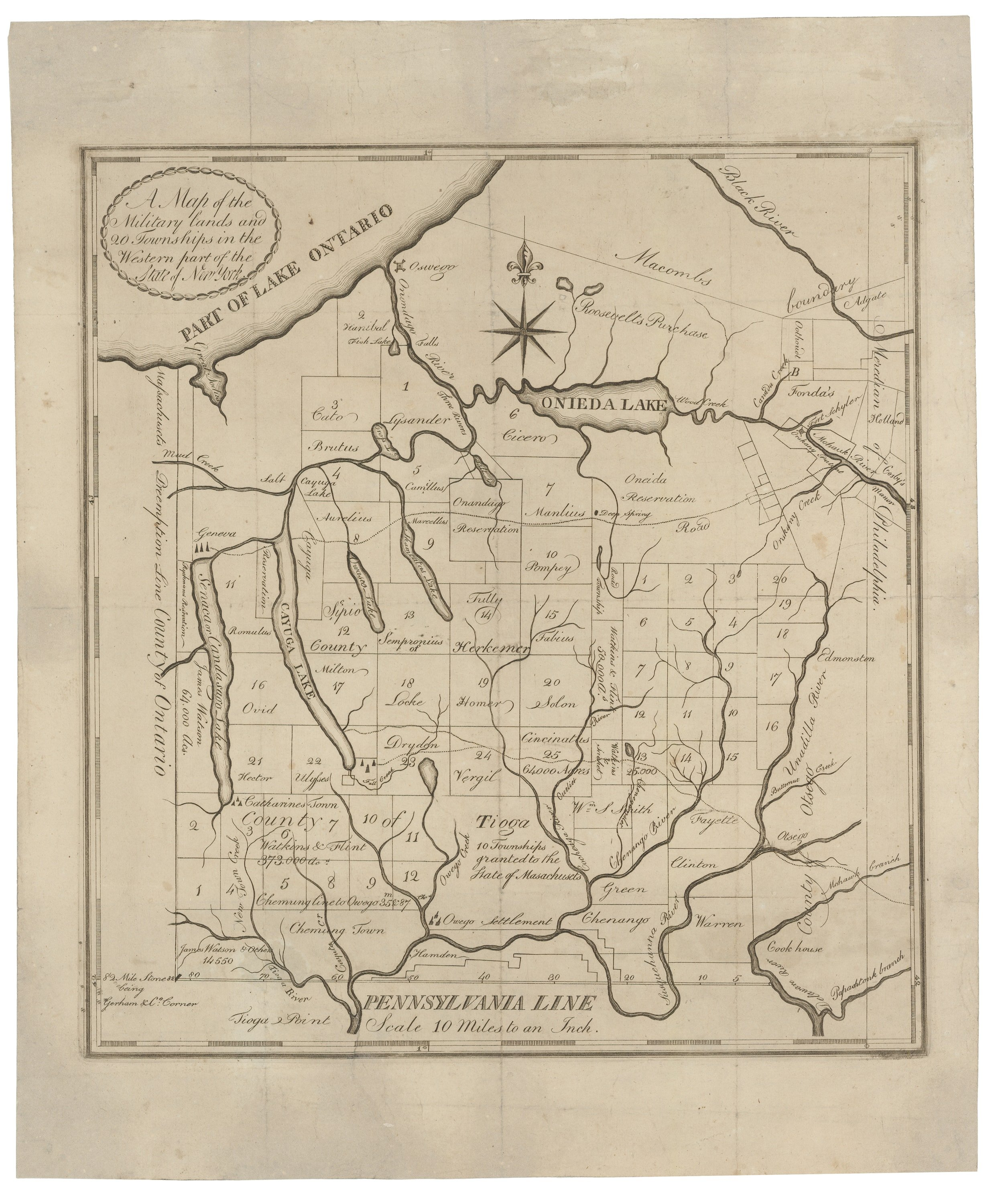 18th-century Map Of The New York Military Tract