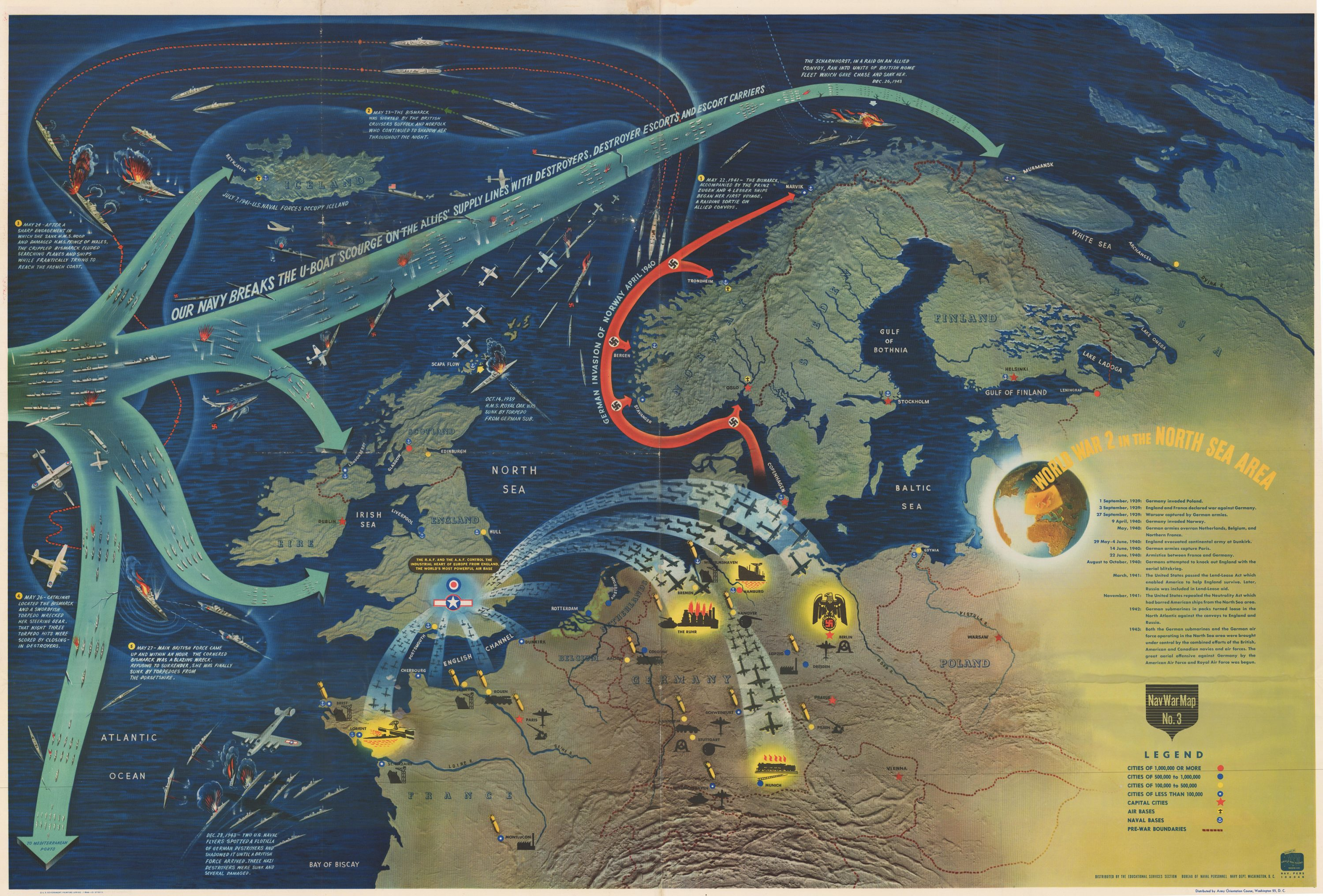 Striking Nav War Map Issued By The U S Navy Department Near The Close Of World War Ii