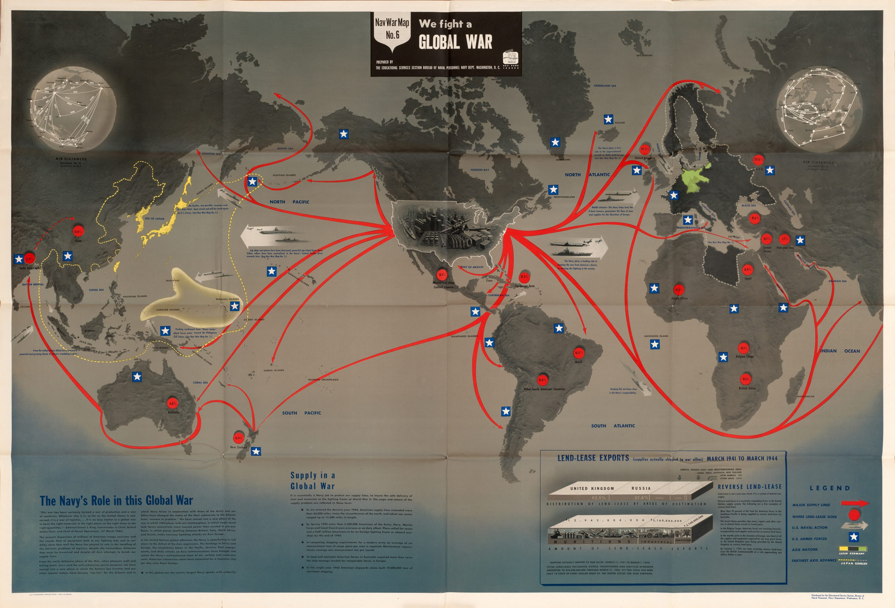 Striking World War Two Nav War Map issued by the US Navy