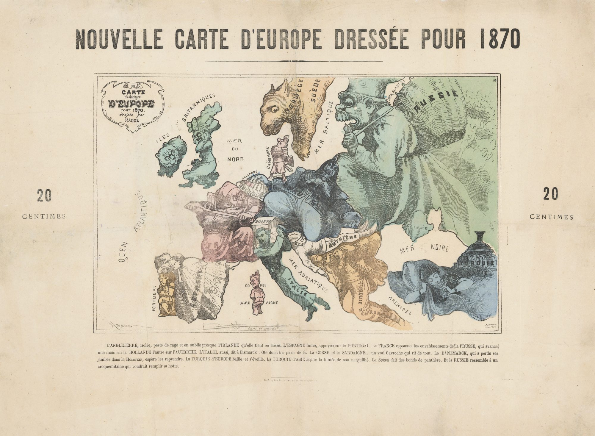 Carte Europe Maps.Iconic 1870 Comic Map Of Europe By Paul Hadol Rare