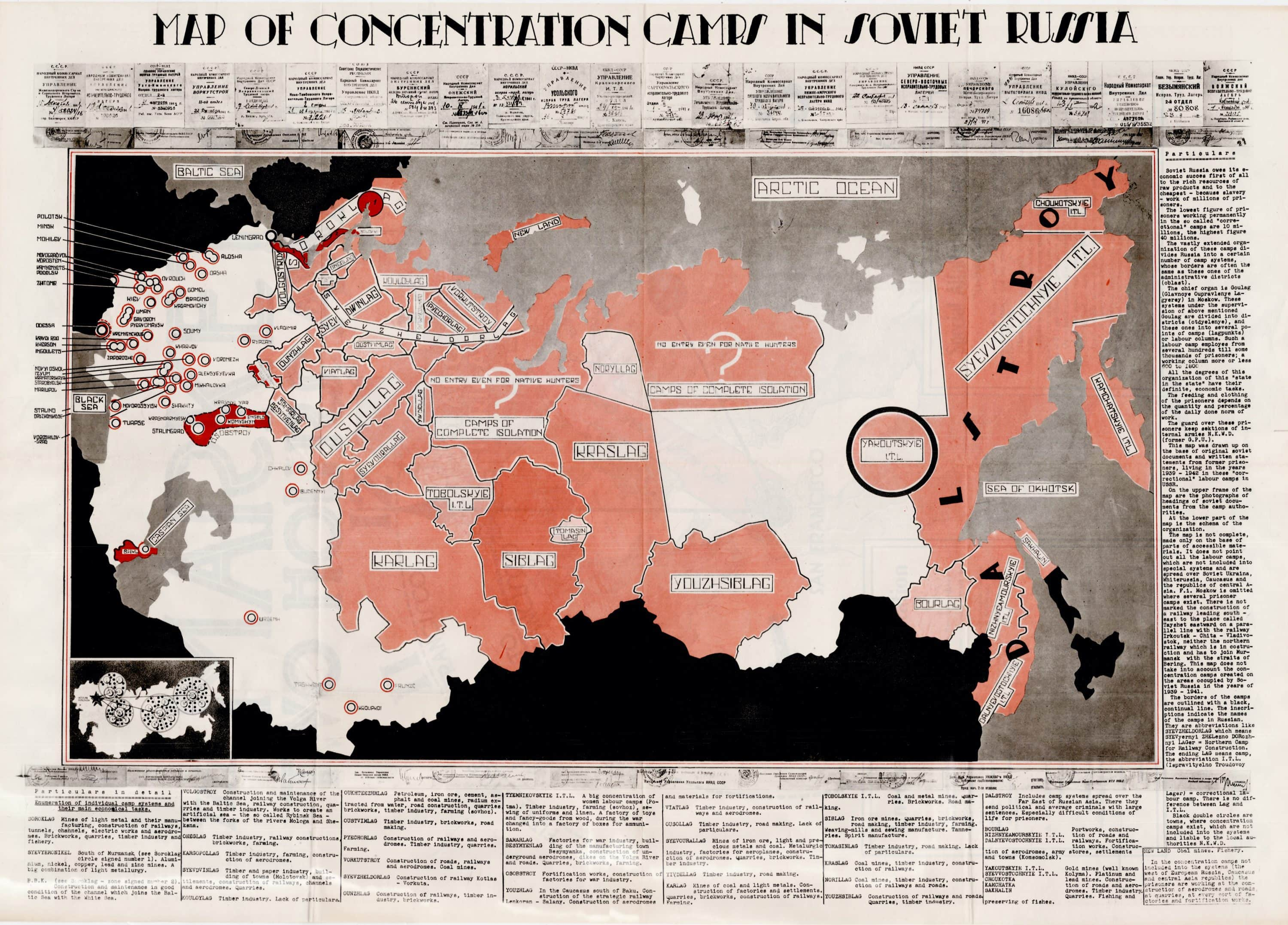 Picture of: Map Documenting The Extent Of The Soviet Gulag System Rare Antique Maps