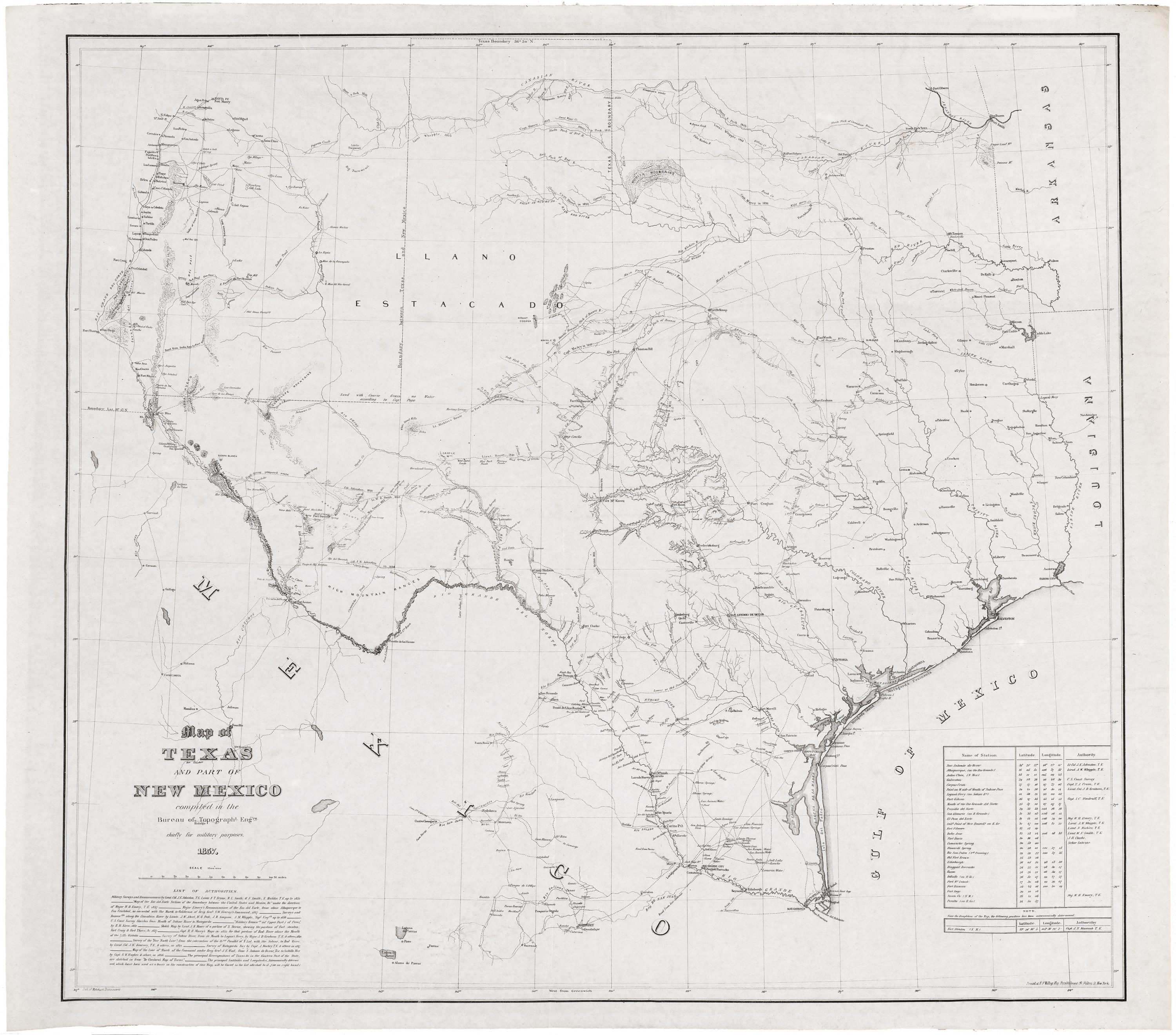 Map Of Texas And New Mexico One of the best illustrations of ante bellum Texas and New Mexico