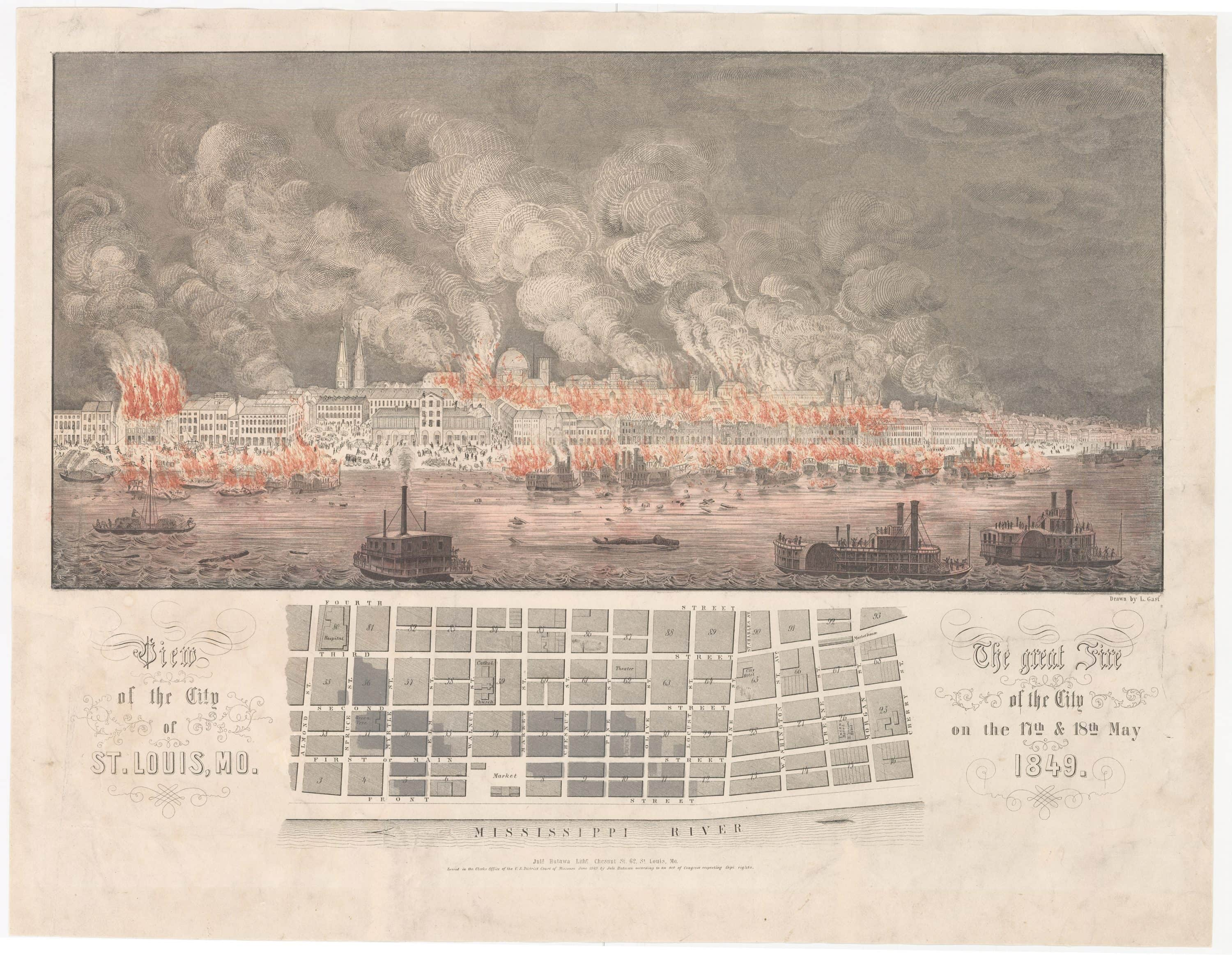 Dramatic print and map of the 1849 Saint Louis Fire - Rare & Antique ...
