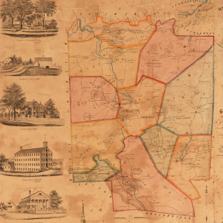 Rare 1855 wall map of grafton massachusetts rare for The grafton
