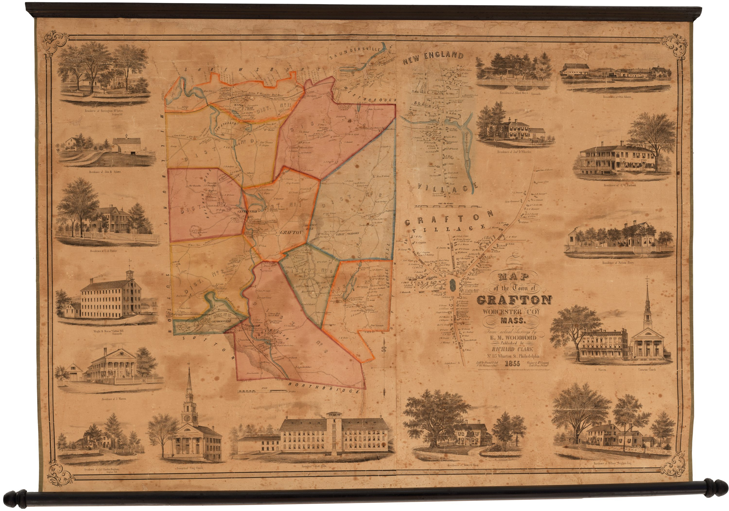 Rare 1855 wall map of Grafton Machusetts - Rare & Antique ... Map Of Union Ct Town on map downtown new london ct, map of maine rivers, map of south st, map of covered bridges ashtabula county ohio, map of indiana covered bridges, map of pine st, mashapaug lake union ct, map of uniontown, map of connecticut, map of paul st, map of franklin st, map of hampton nh, map of eastern kentucky cities,