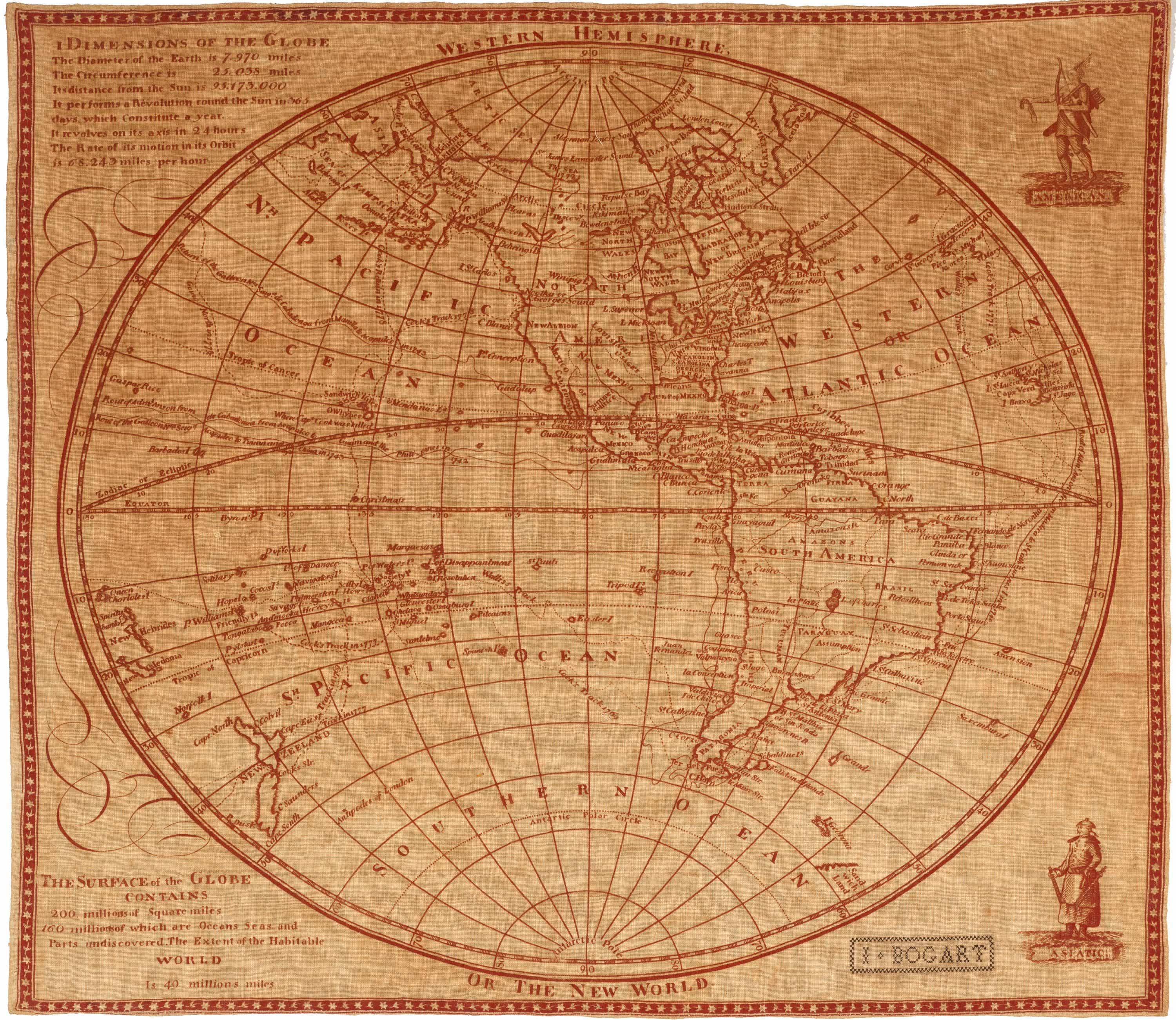 Linen Printing Of An Unrecorded 18th Century Western Hemisphere Map
