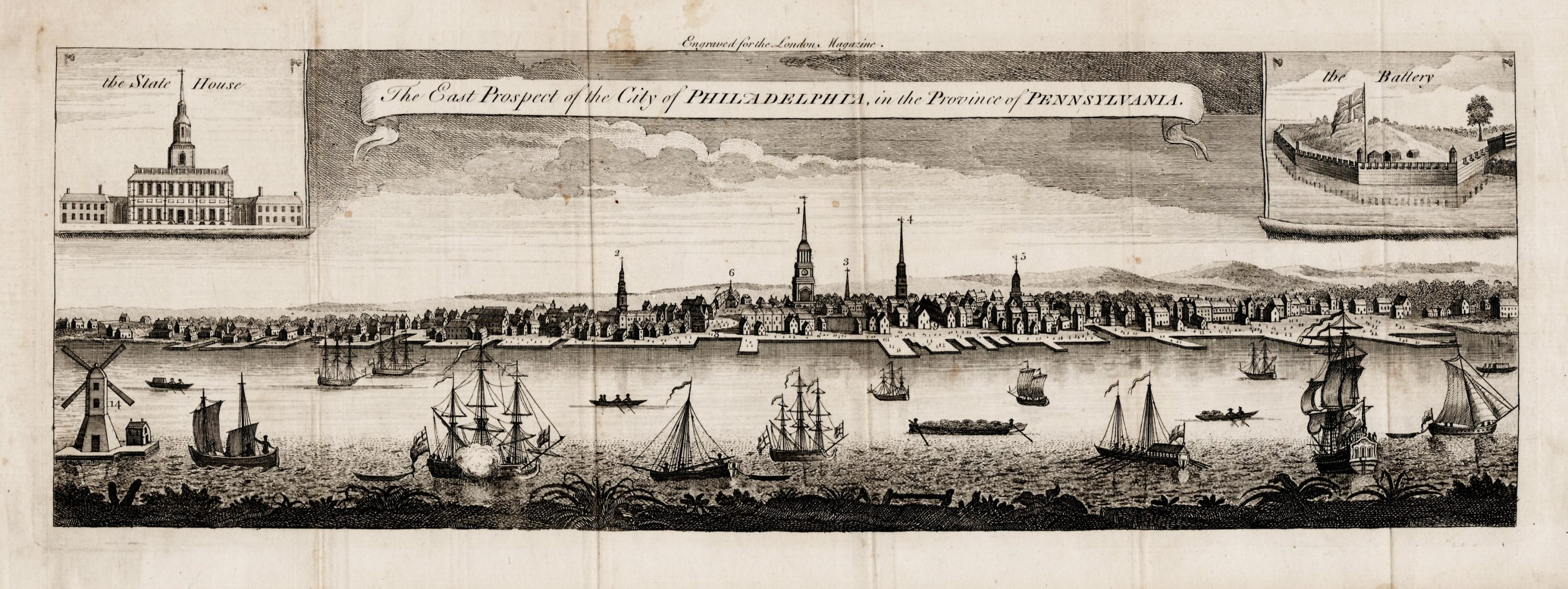 1761 view of Philadelphia based on the George Heap original Rare