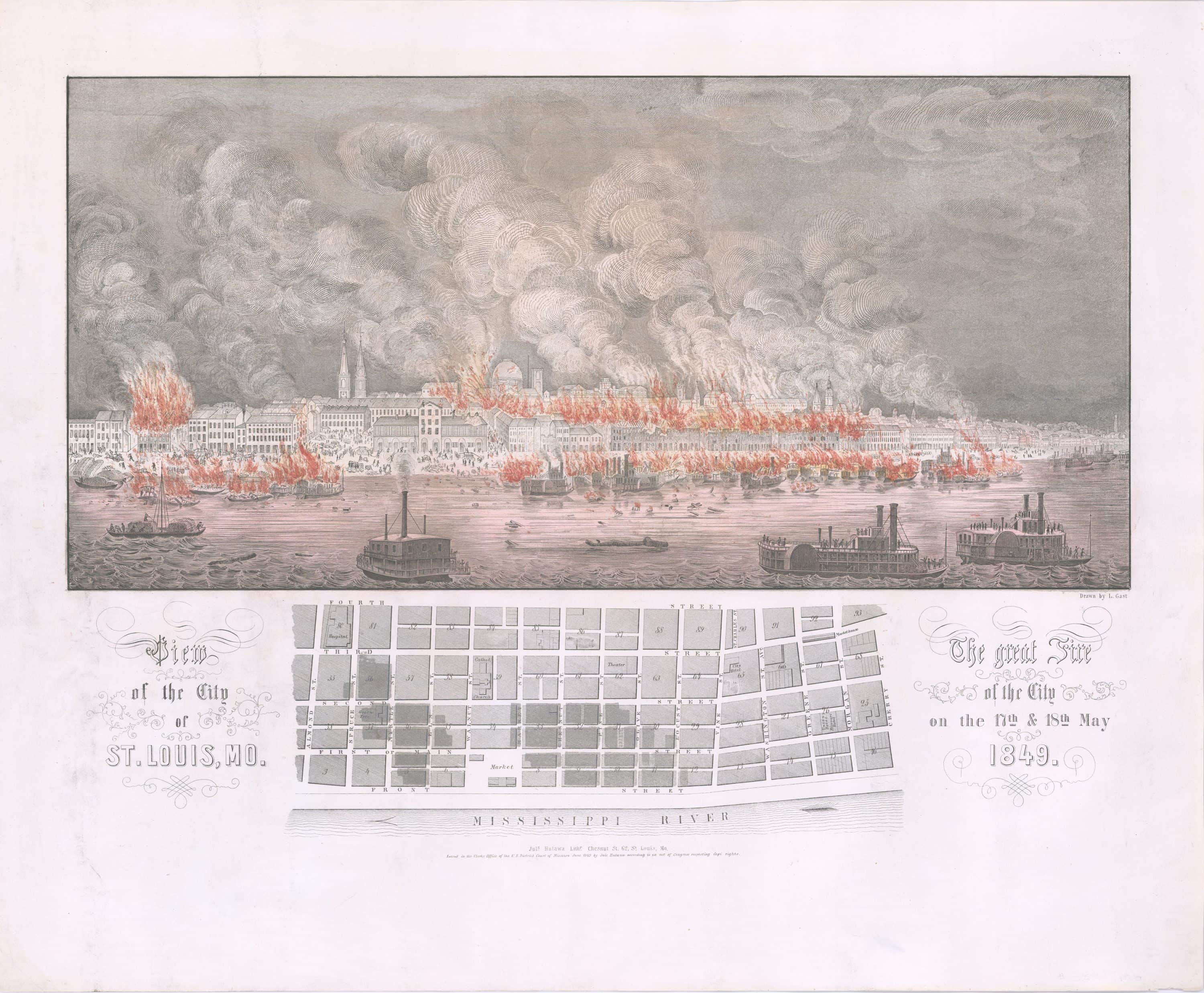 Dramatic map and view of the 1849 St. Louis Fire - Rare ...