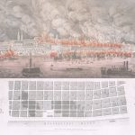 [ St. Louis Fire ] Drawn by L[eopold] Gast / Jul[iu]s Hutawa Lithr, View of the City of ST. LOUIS, MO. : The great Fire of the City on the 17th and 18th of May. 1849. St. Louis: Julius Hutawa, June 1849.