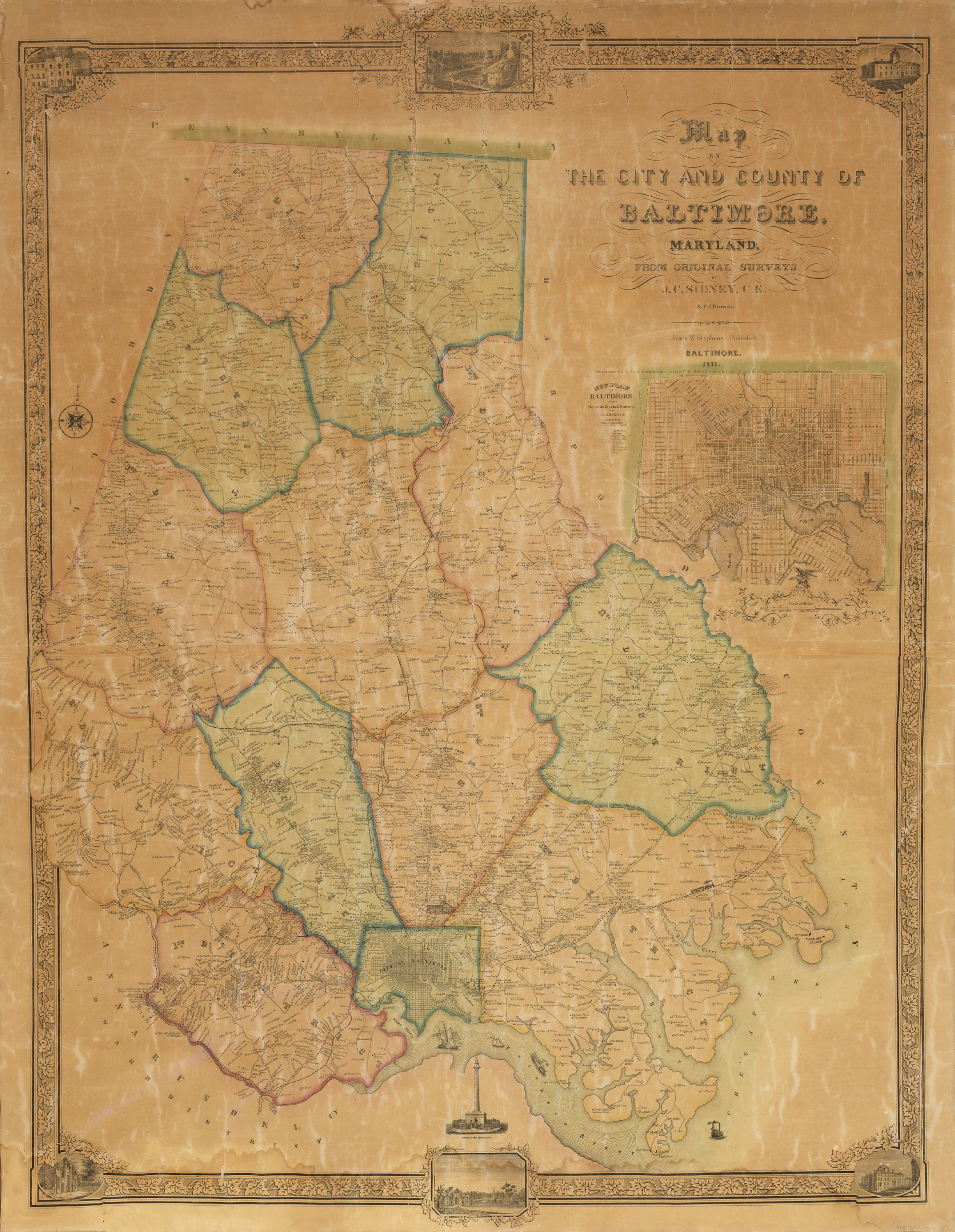 The first printed map of Baltimore County Maryland Rare Antique Maps