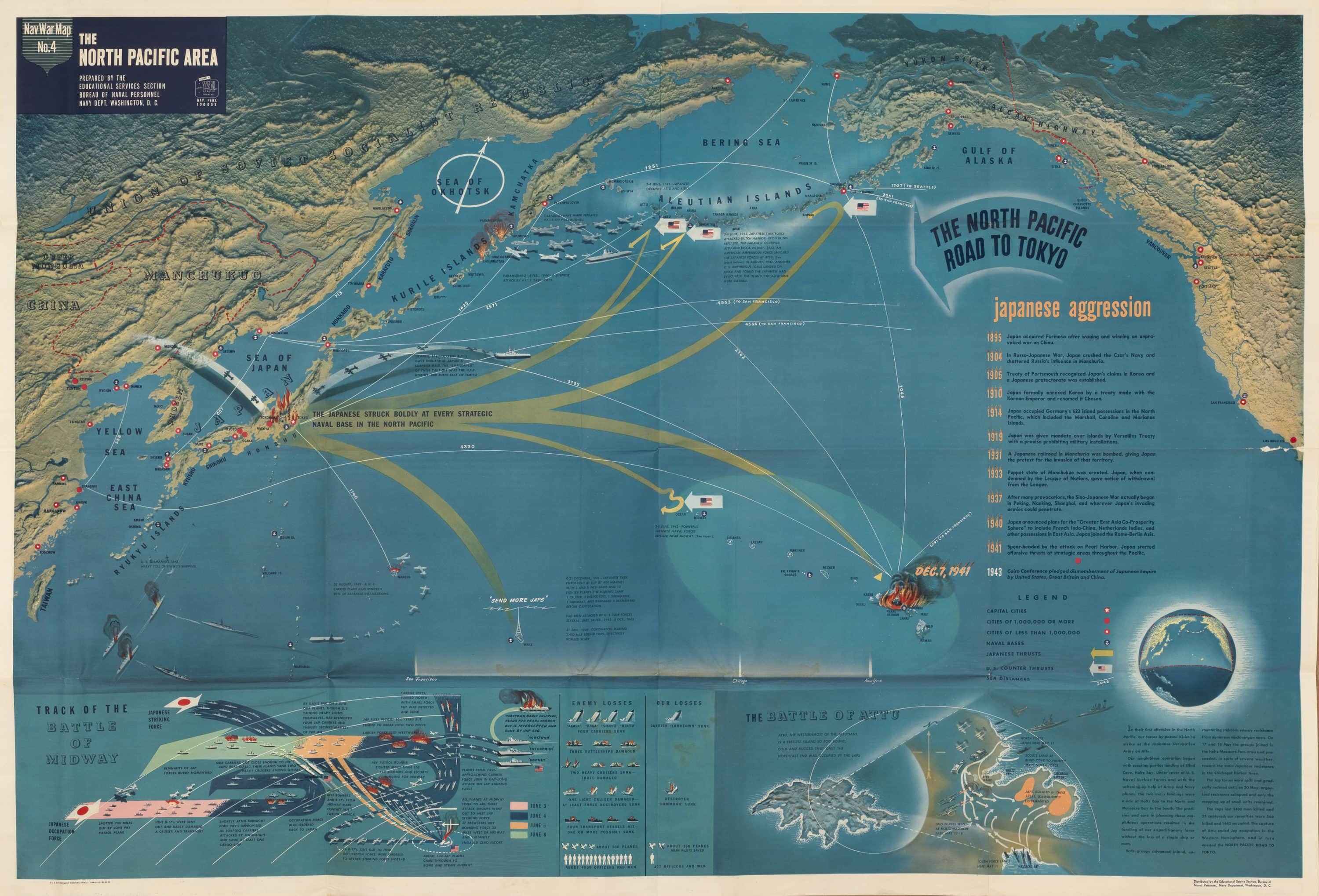 Striking Us Navy Map Of The North Pacific In Wwii Rare Antique - Pacific-ocean-on-us-map