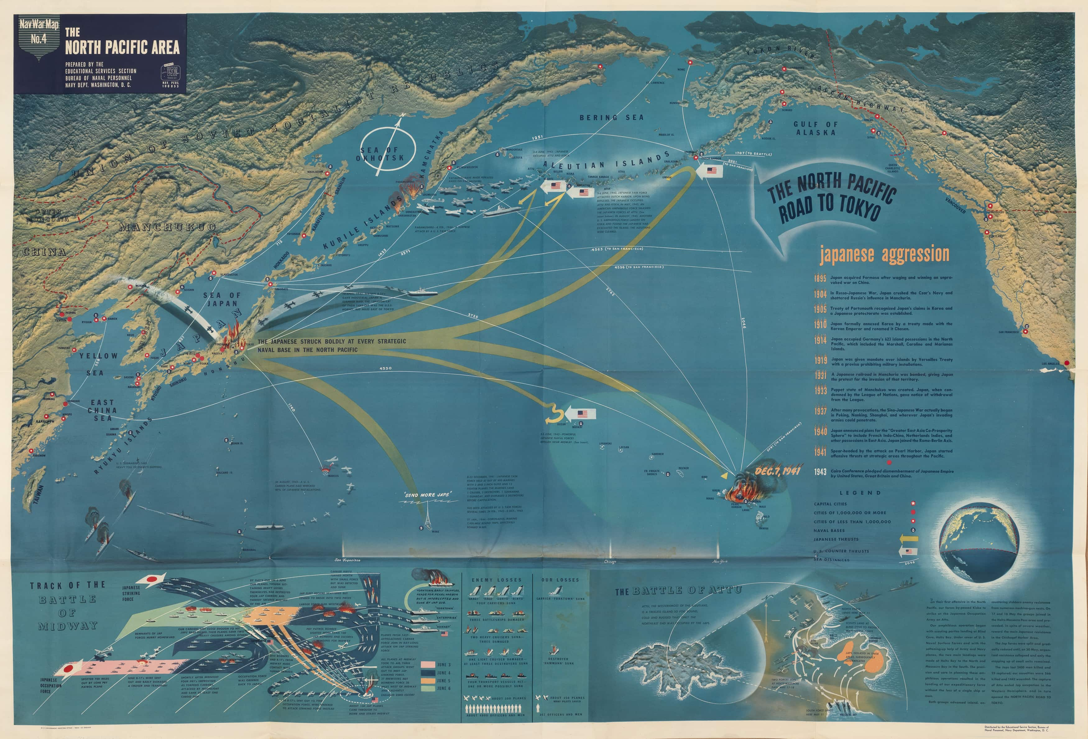Us Maps Navy >> Striking U.S. Navy map of the North Pacific in WWII - Rare & Antique Maps