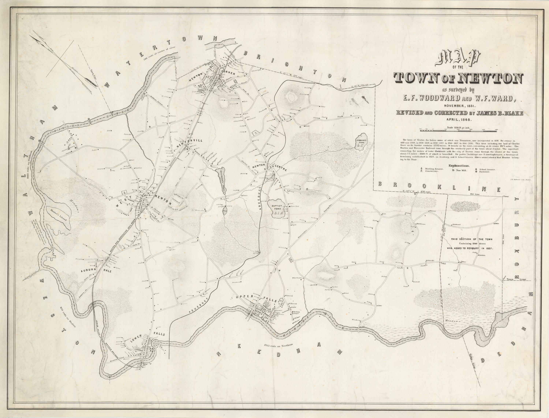 Woodward and Wards 1848 map of Newton Massachusetts Rare