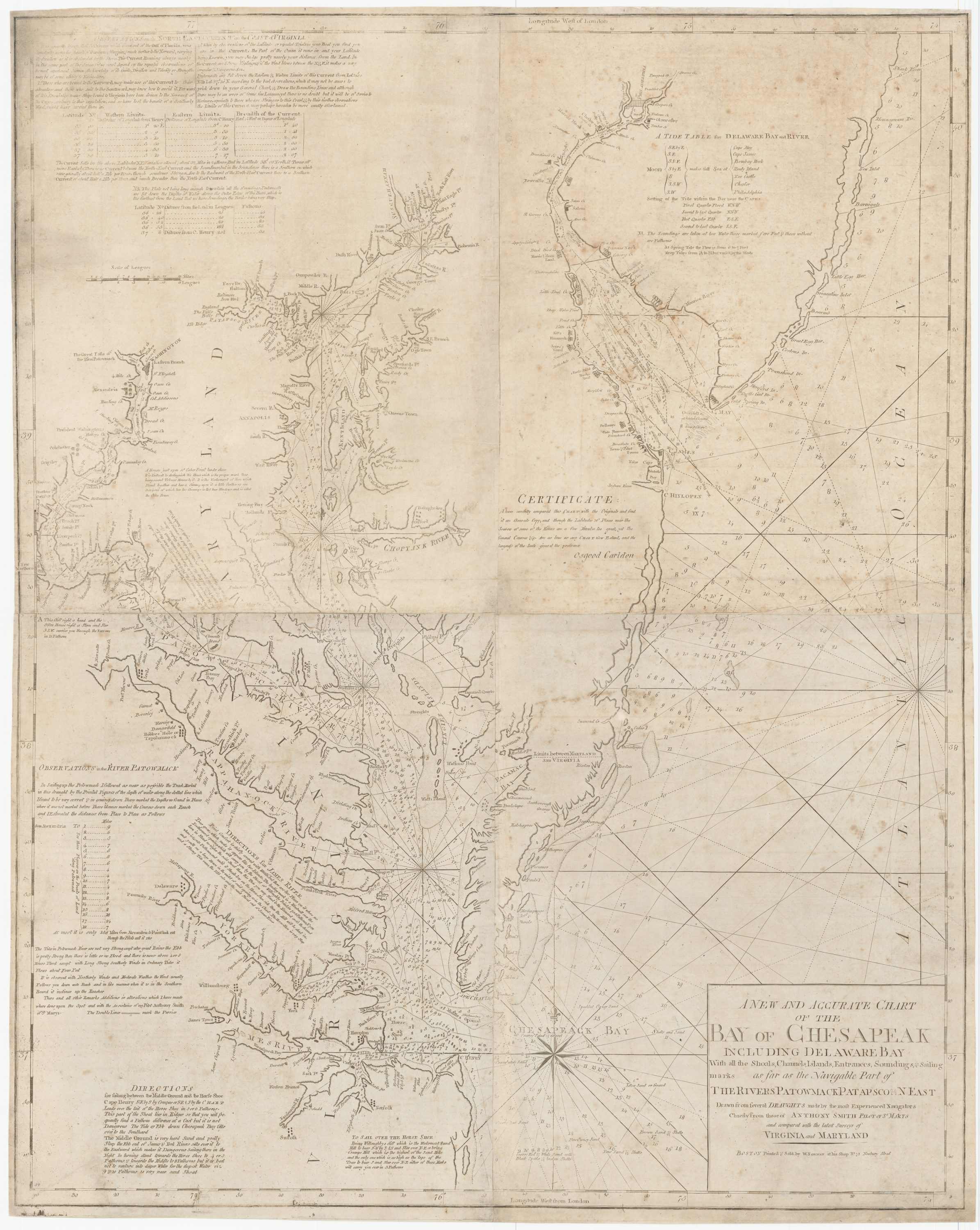 Chesapeake Bay Topographic Map.Rare 1794 Chart Of Chesapeake Bay From Norman S American Pilot