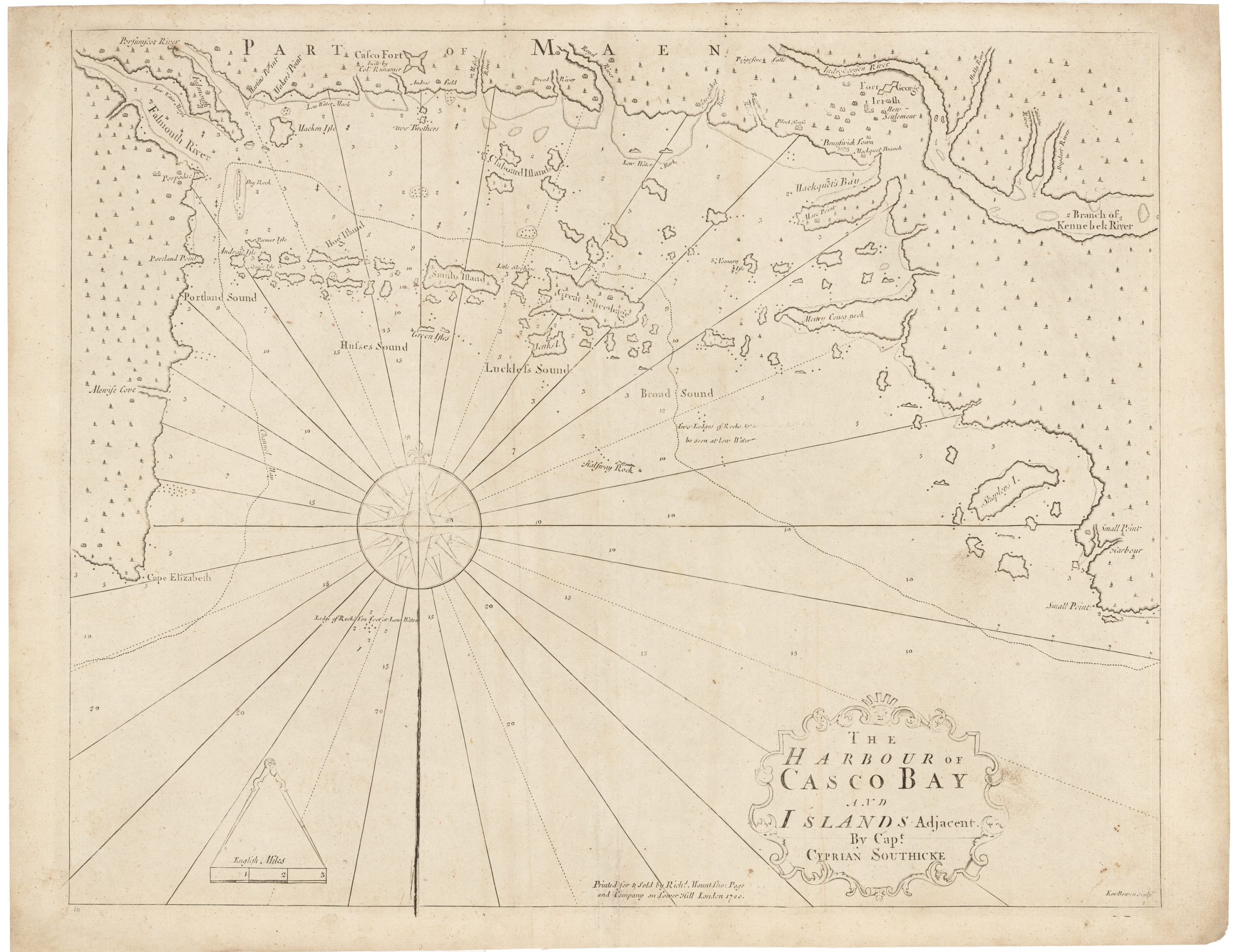 A casco bay first by cyprian southack rare antique maps a casco bay first by cyprian southack freerunsca Image collections