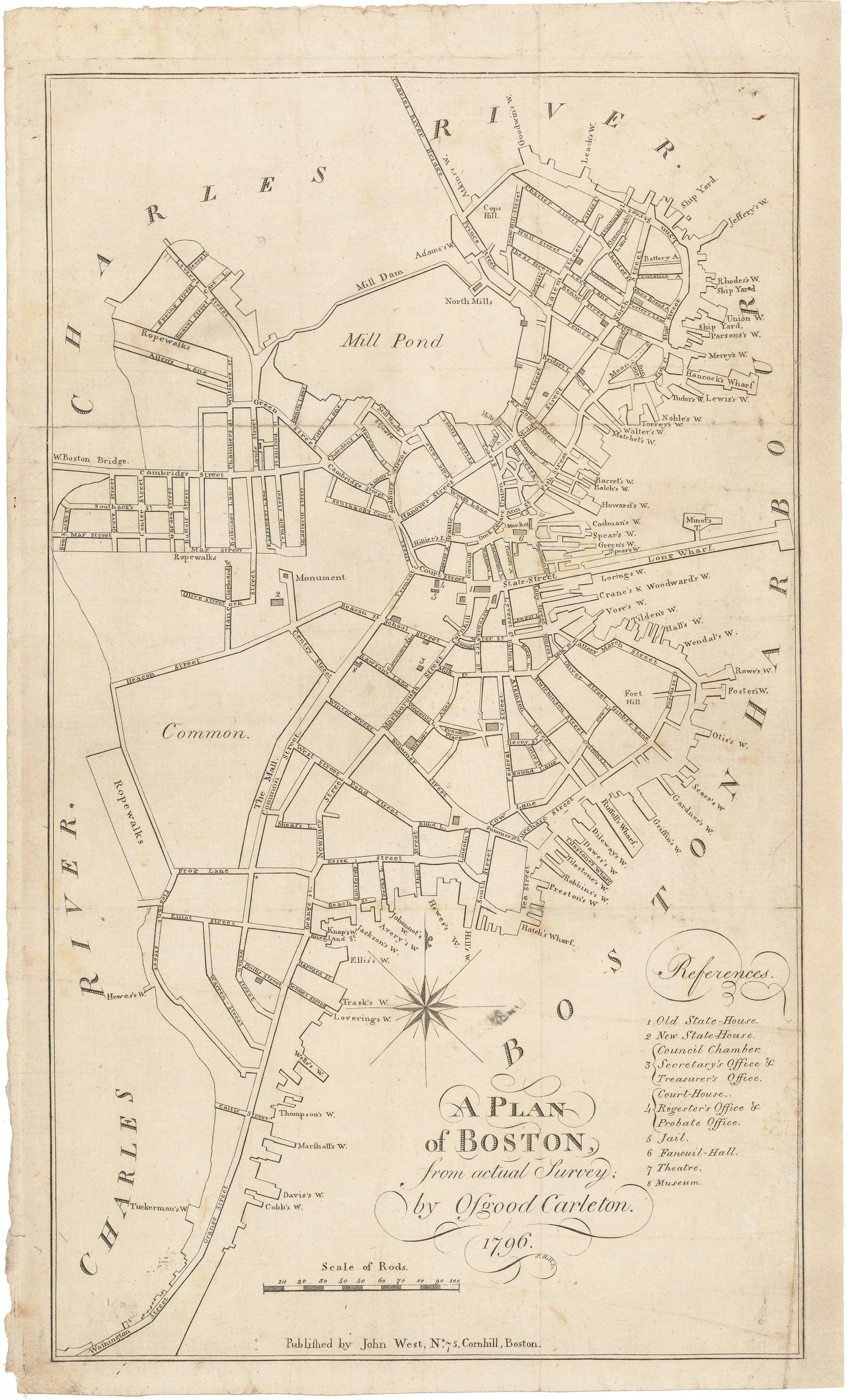 1796 plan of Boston by Osgood Carleton