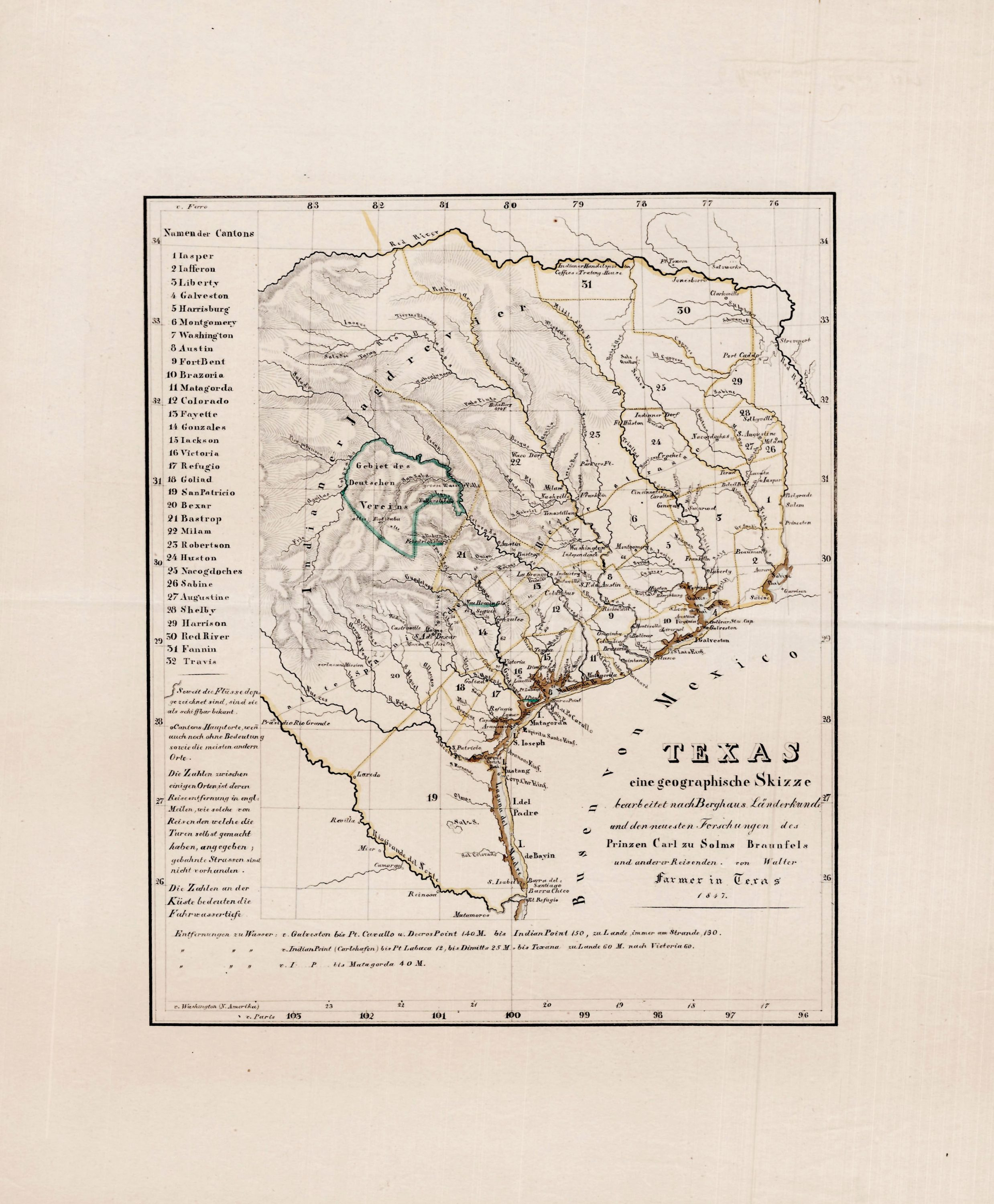 Map Of Texas Victoria.1847 Adelsverein Map Of Texas