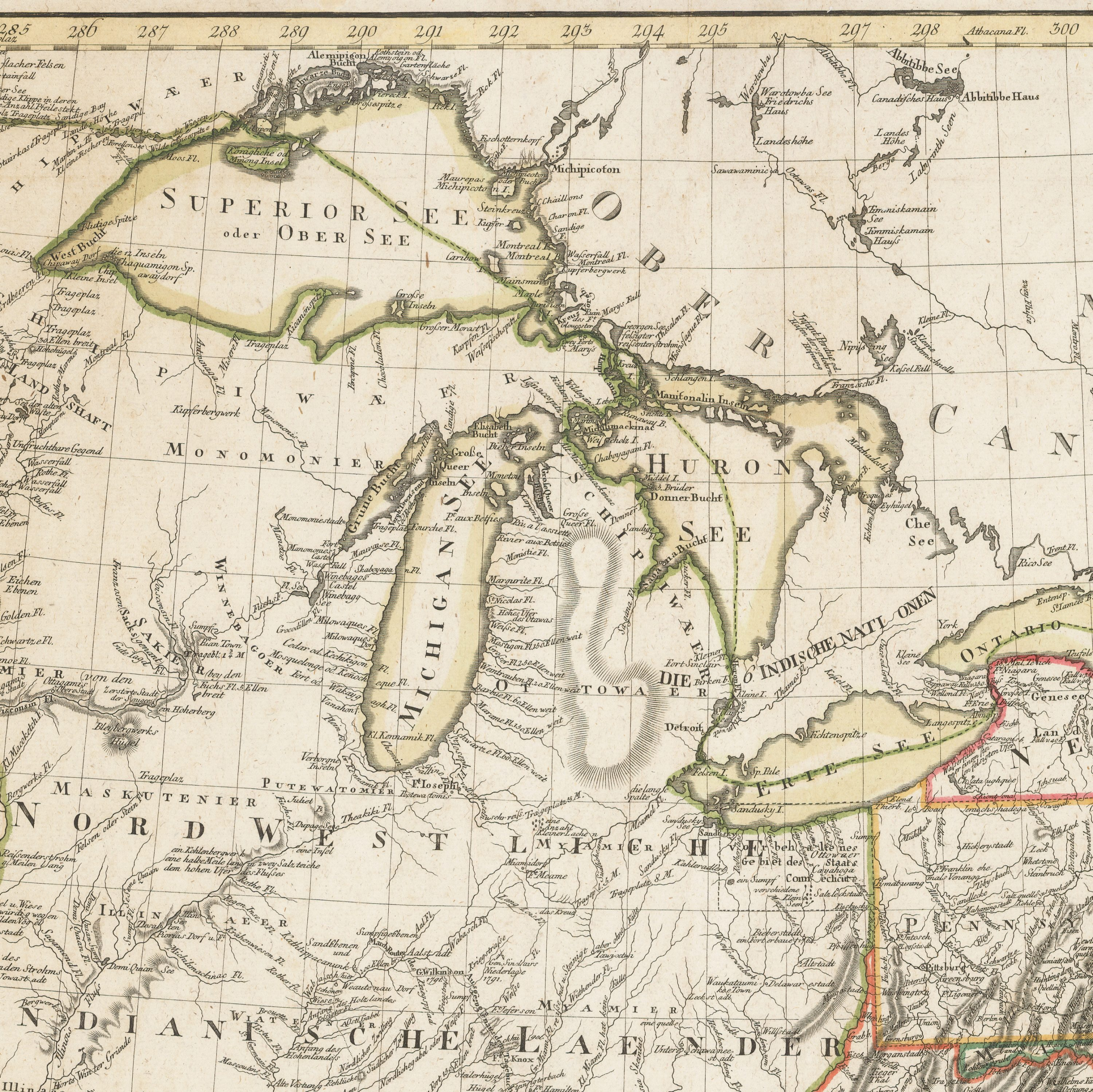 A remarkable Sotzmann map of the United States  Rare  Antique Maps