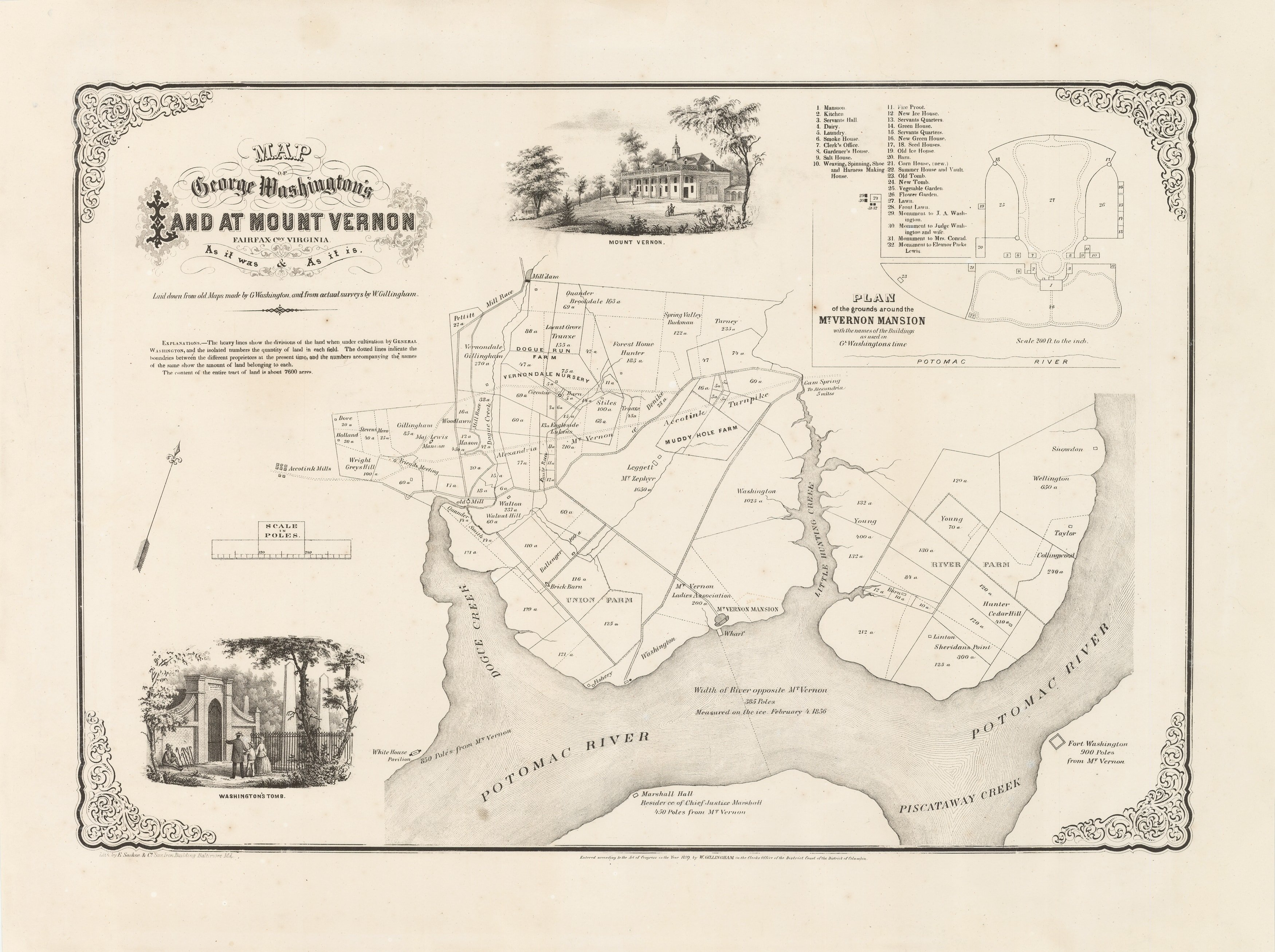 Mt Vernon Washington Map.Rare And Detailed 1859 Map Of George Washington S Mount Vernon