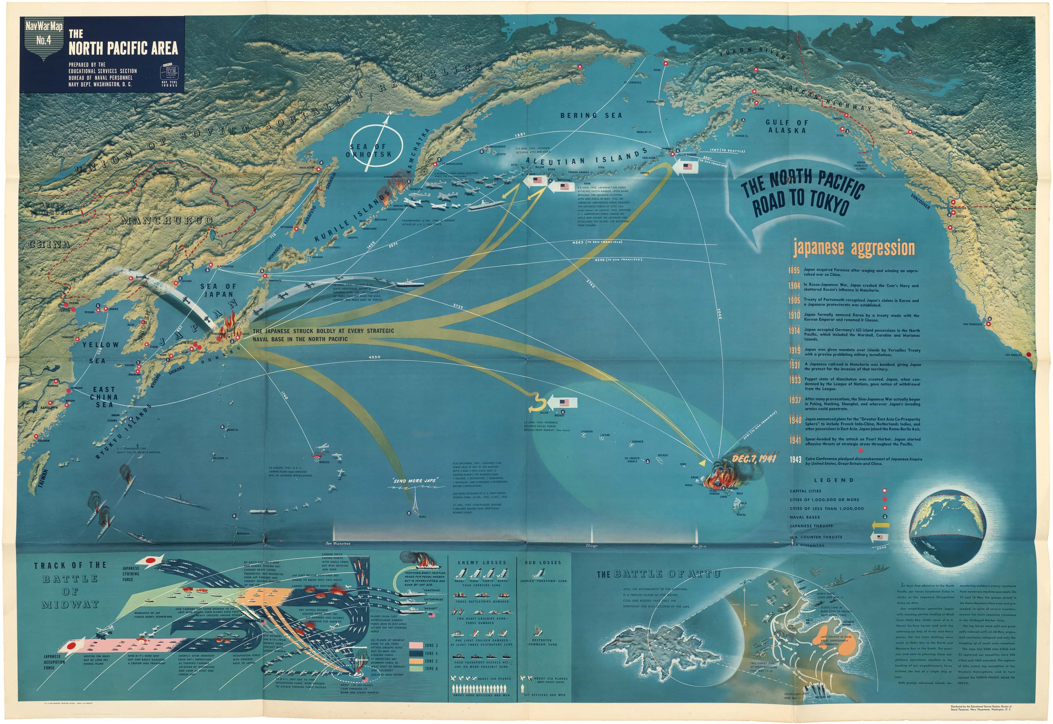 Striking U.S. Navy map of the North Pacific in WWII