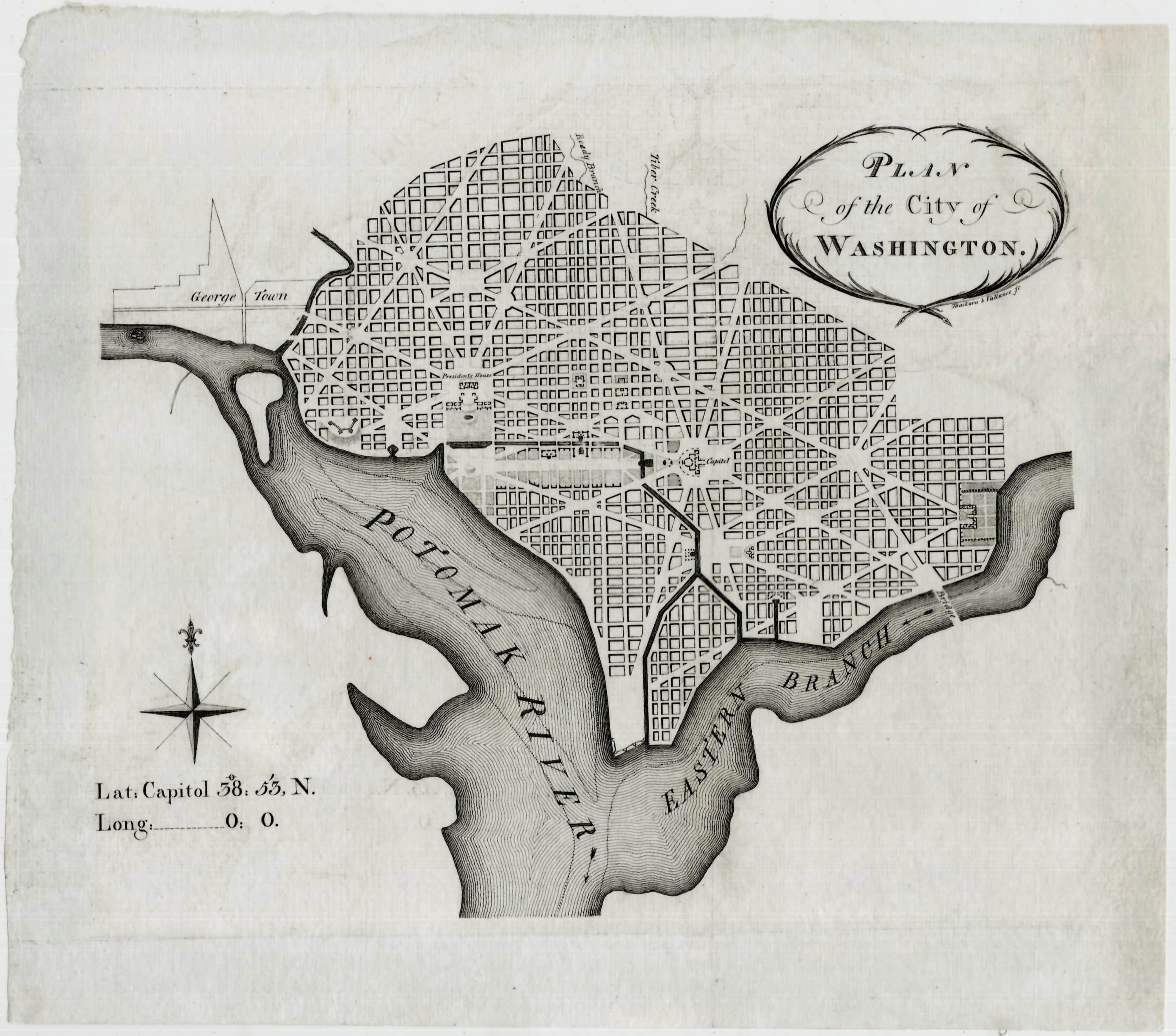 The First Printing Of The First Map Of Washington D C Rare