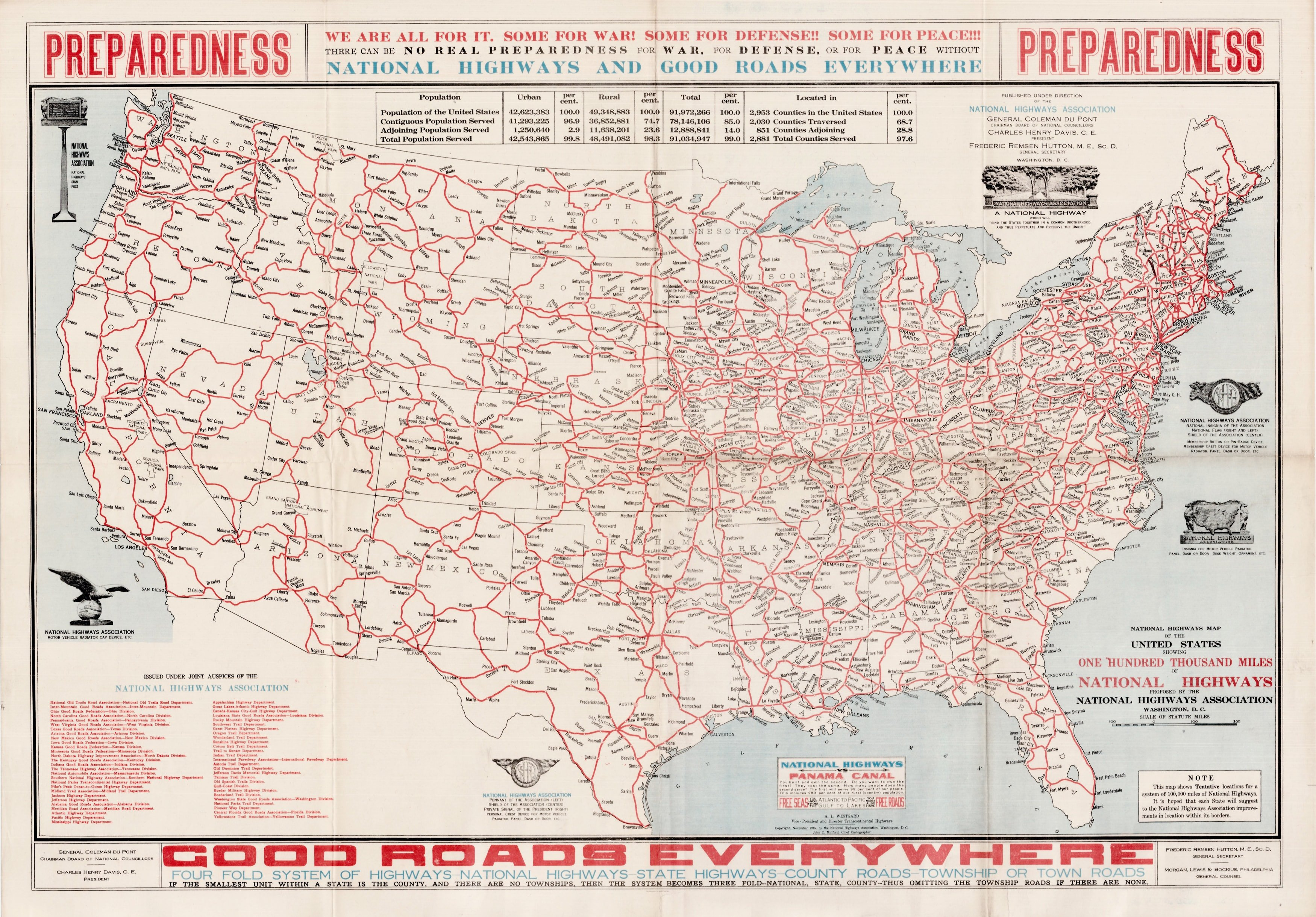 1915 Map Featuring The National Highways Ociation Plan For A United States Road Network Rare Antique Maps