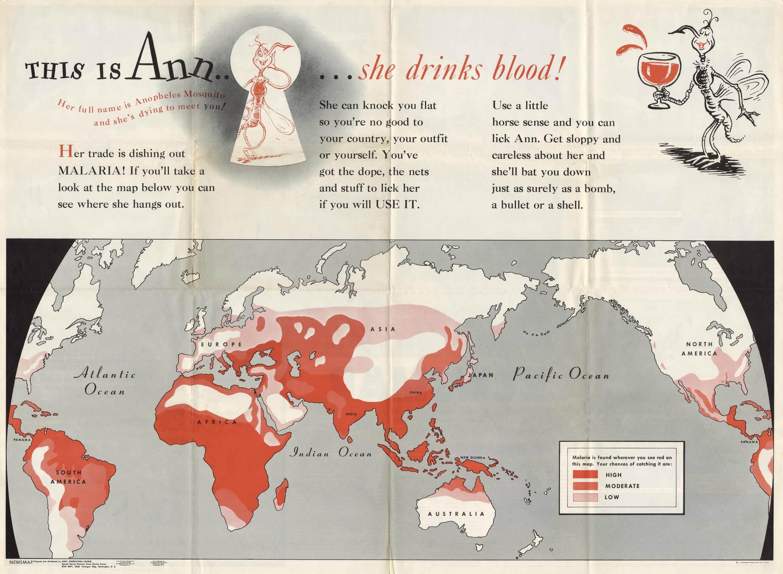 World War II anti-malaria poster by Doctor Seuss - Rare ... on giardia world map, hemophilia world map, shingles world map, herpes world map, dientamoebiasis world map, dysentery world map, infection world map, mumps world map, hookworm world map, sickle cell anemia world map, alcoholism world map, alzheimer's world map, chikungunya world map, influenza world map, brucellosis world map, psoriasis world map, vaccination world map, ebola world map, meningitis world map, asthma world map,