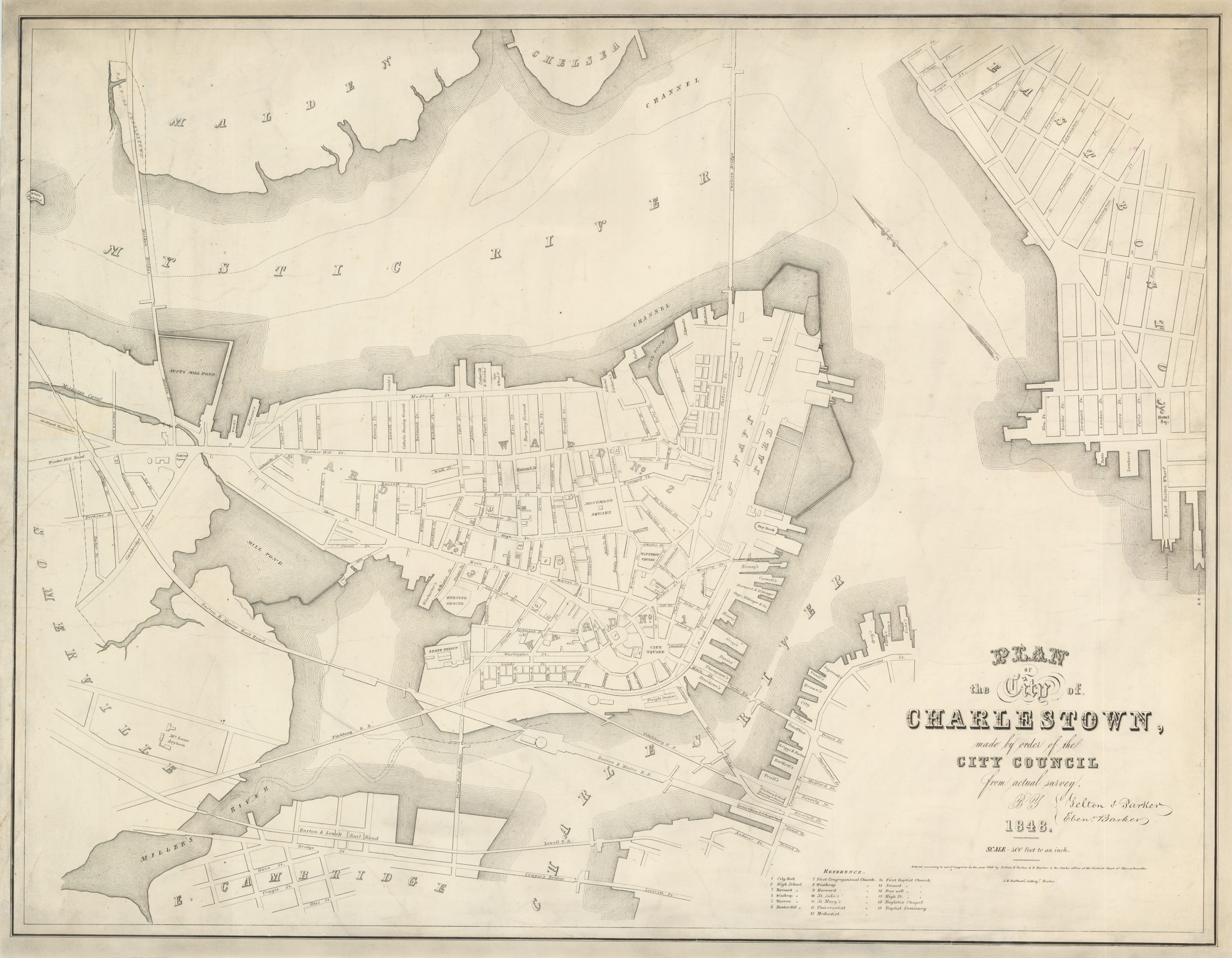 Felton Parker Map Of Charlestown Massachusetts In Rare - Maps massachusetts