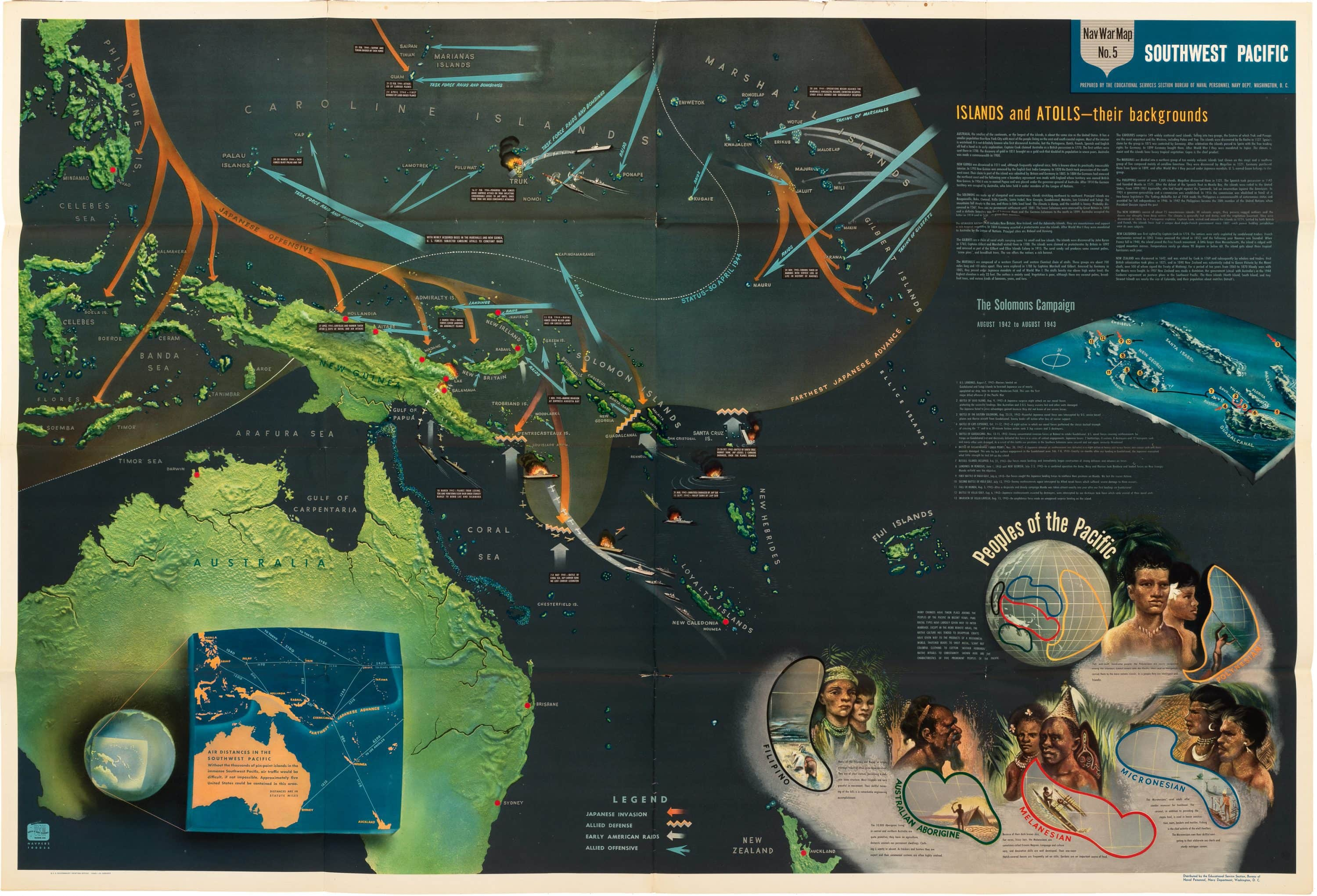 Eye-popping pictorial map of the South Pacific campaigns of WWII ...