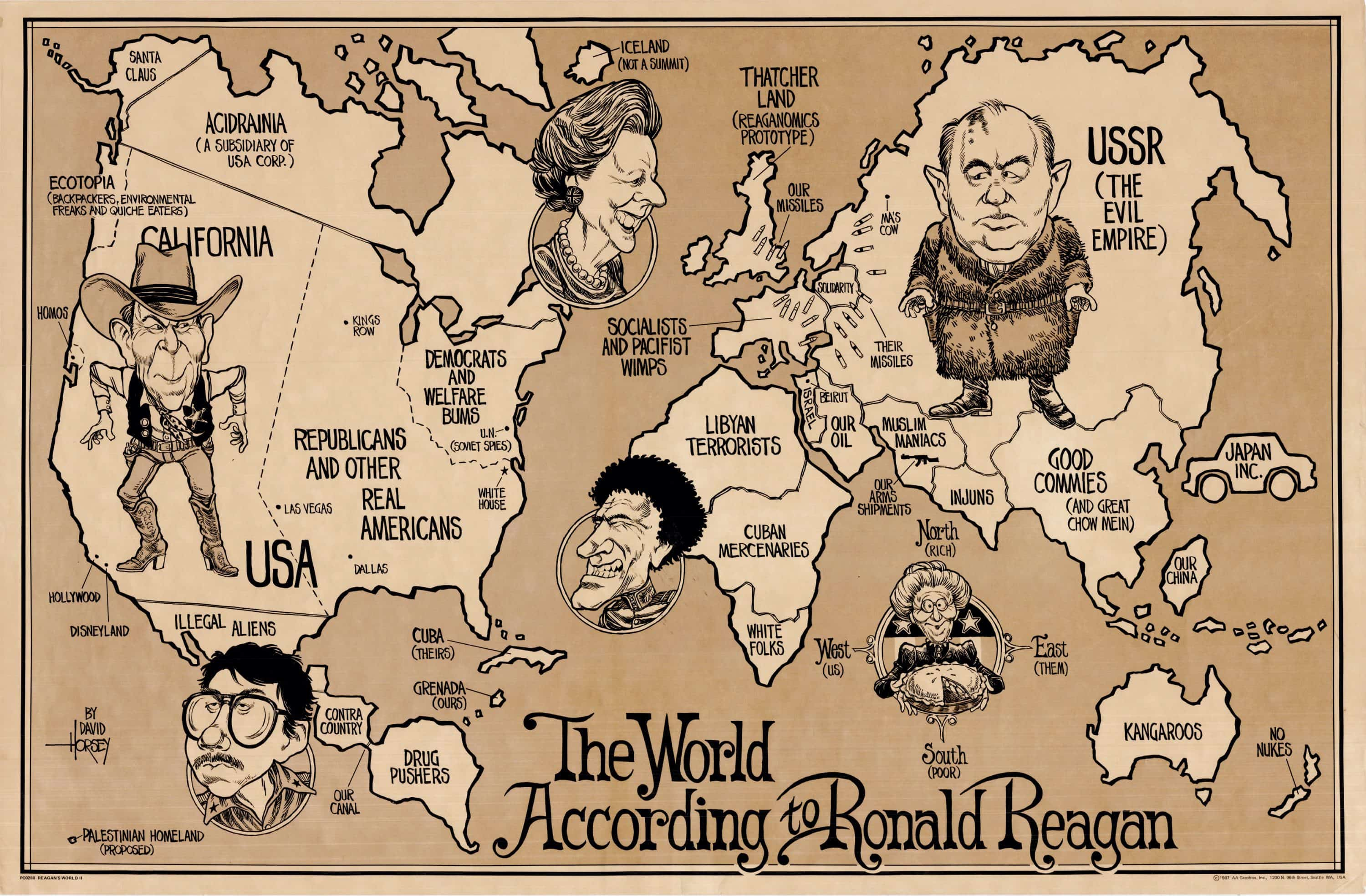 1987 Map Of The World According To Ronald Reagan Rare